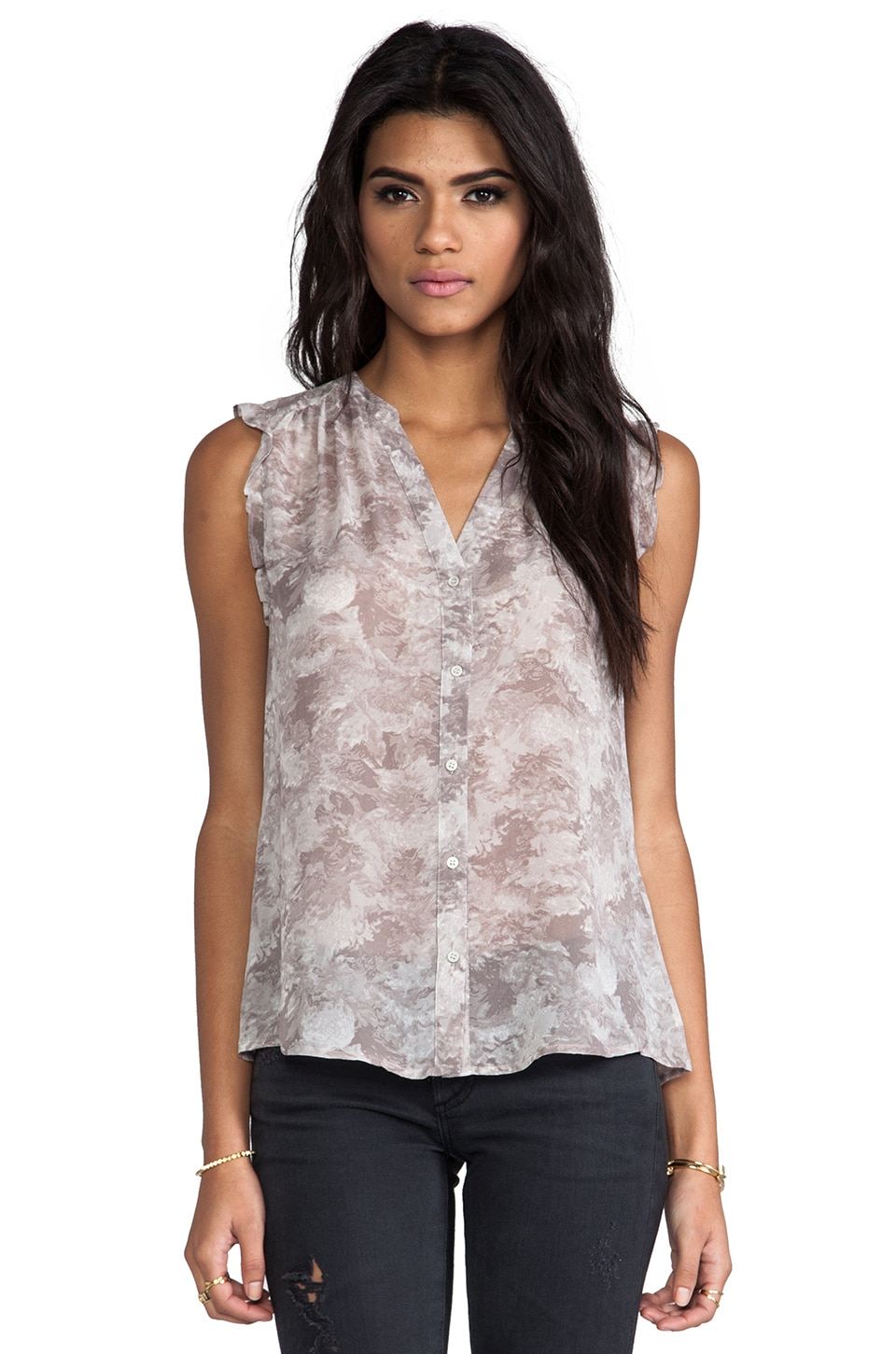 Joie Fayanna Printed Silk Top in Light Dove