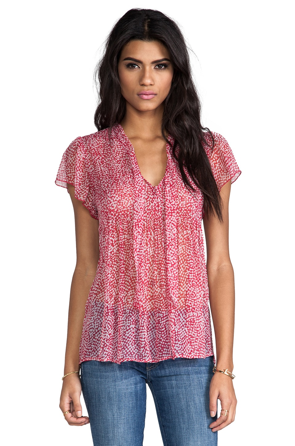Joie Macie Tie Front Blouse in Candy Red
