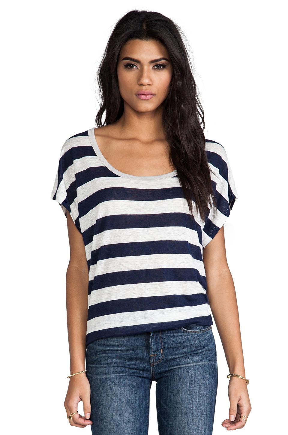 Joie Maddie Striped Linen Tee in Dark Navy