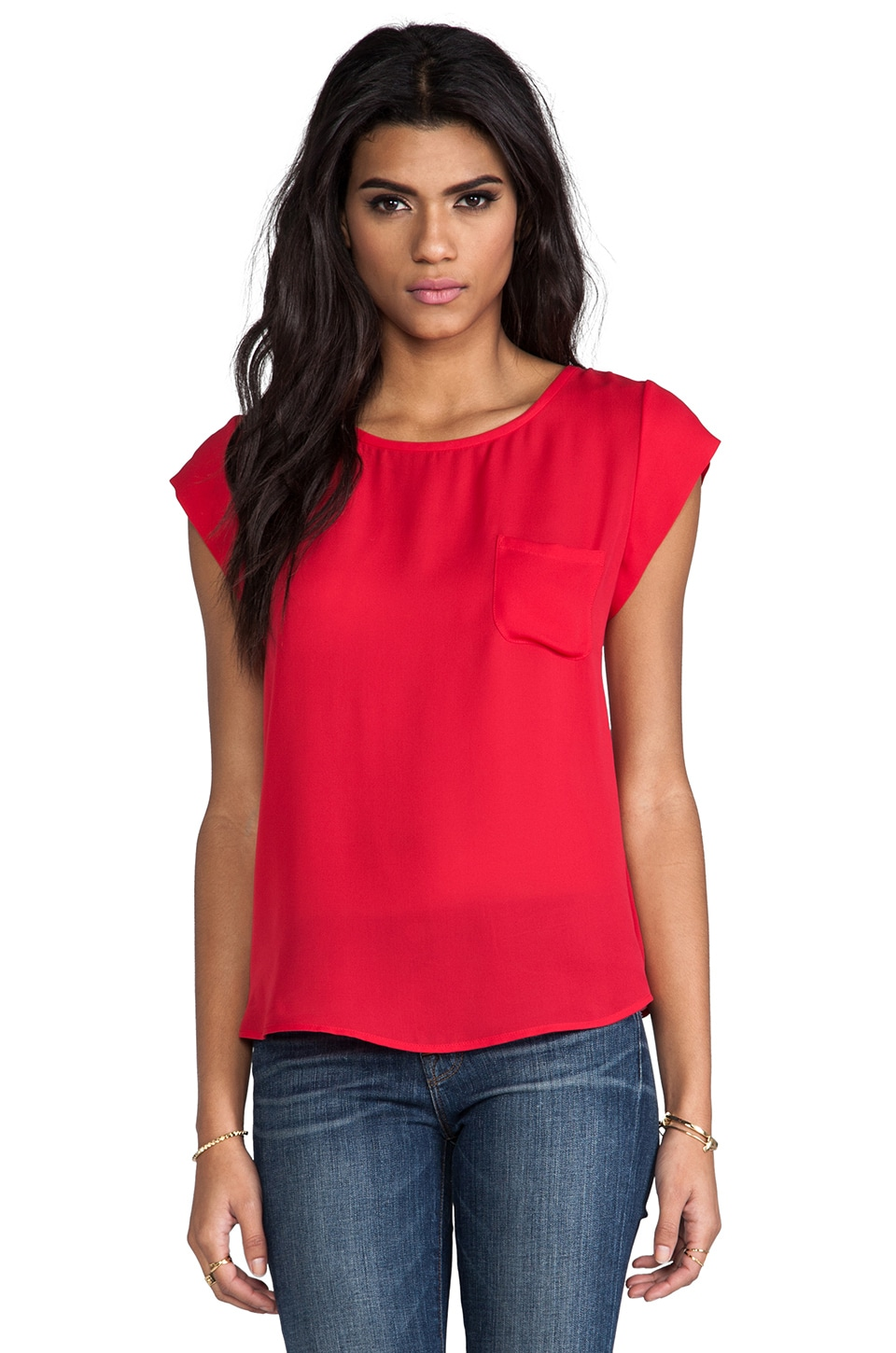 Joie Rancher Silk Top in Candy Red