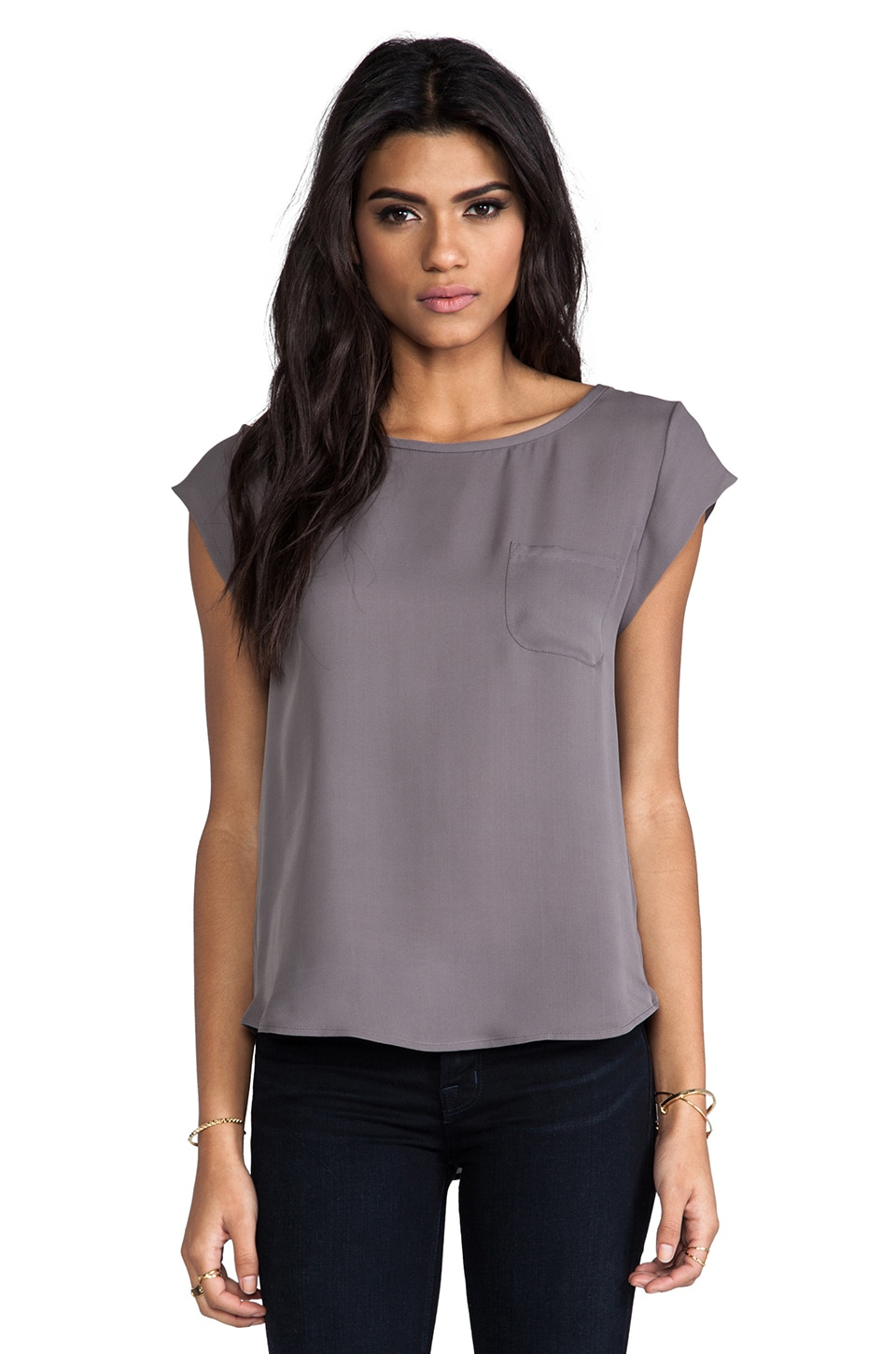 Joie Rancher Silk Top in Steel