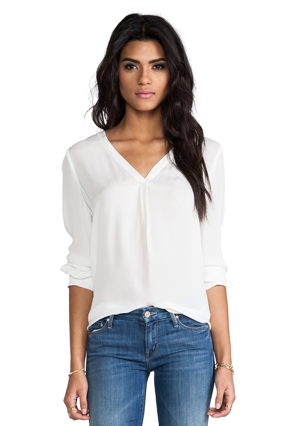 Joie Daryn Matte Silk Blouse in Porcelain