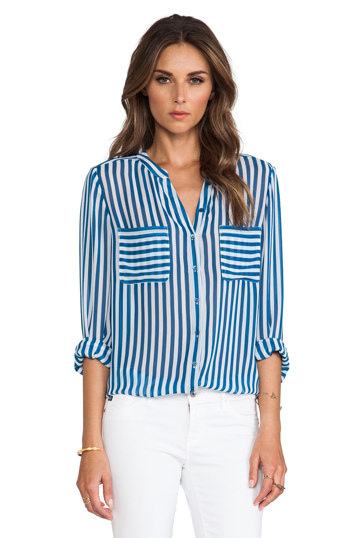 Joie Loreley Vertical Stripe Blouse in Nineties Blue