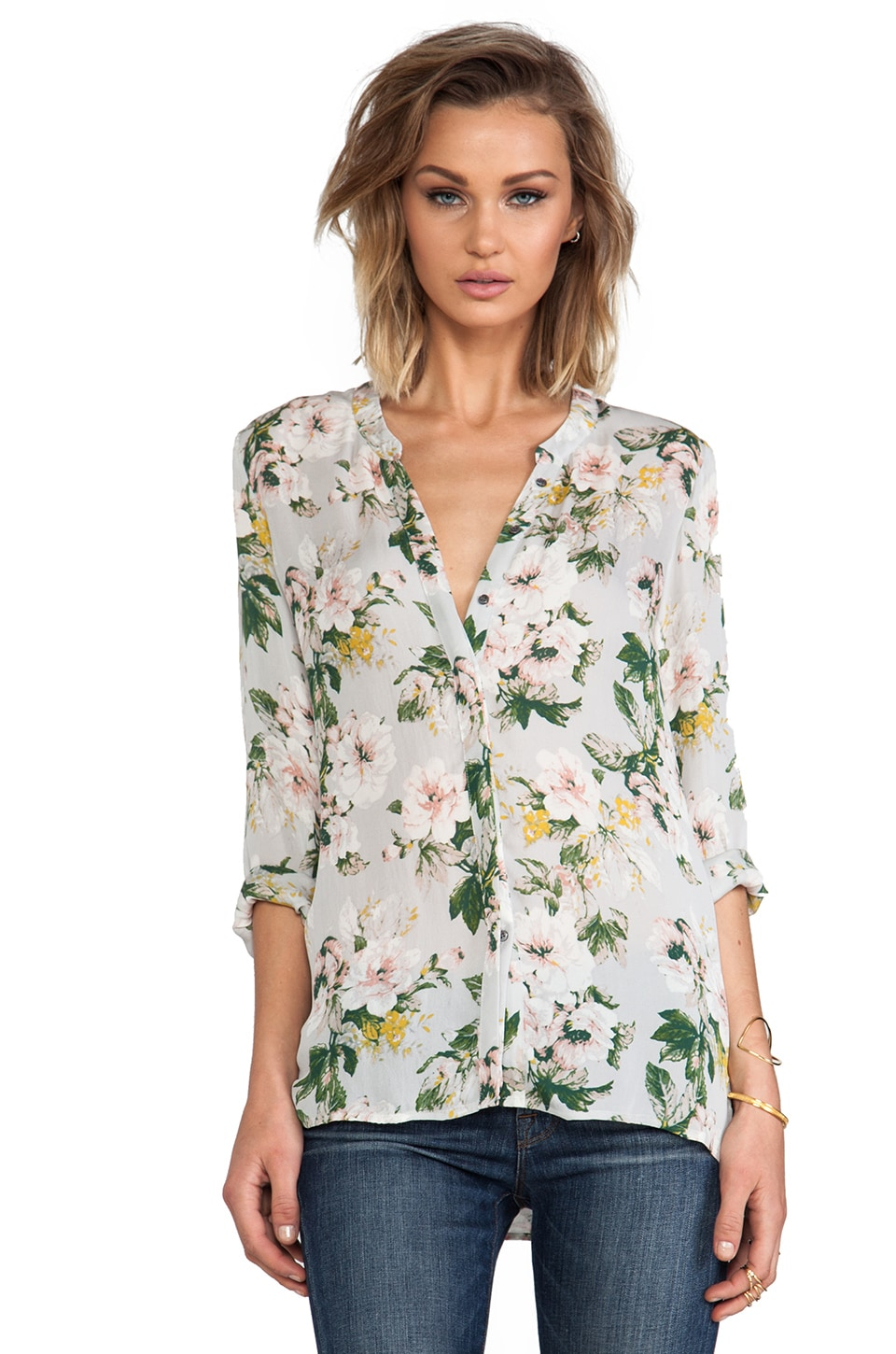 Joie Devitri Cabbage Rose Blouse in Light Smoke