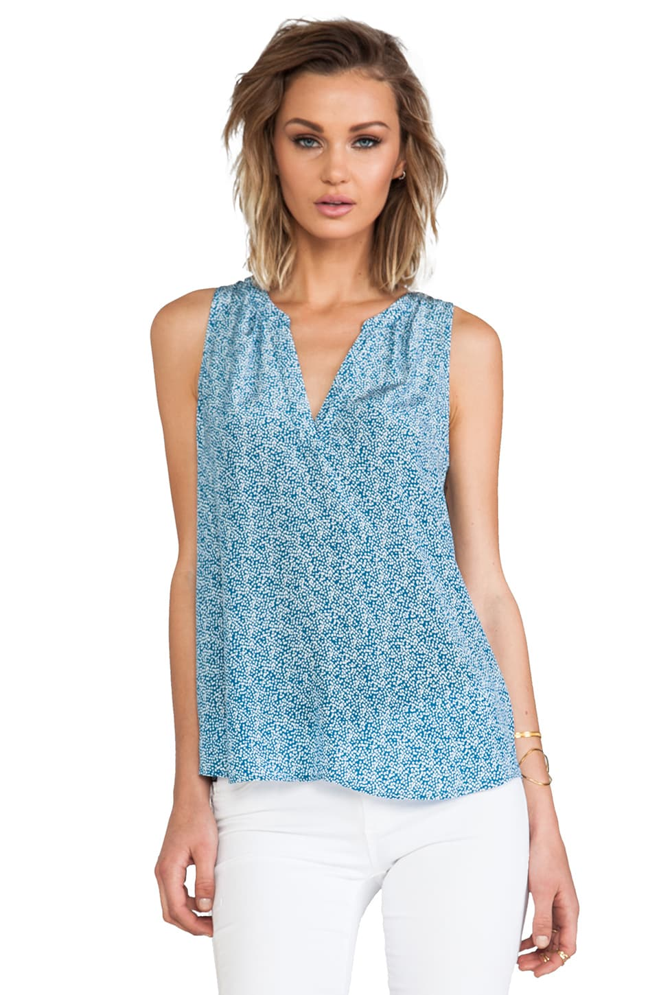 Joie Fifi Mini Textural Dot Printed Silk Tank in Nineties Blue