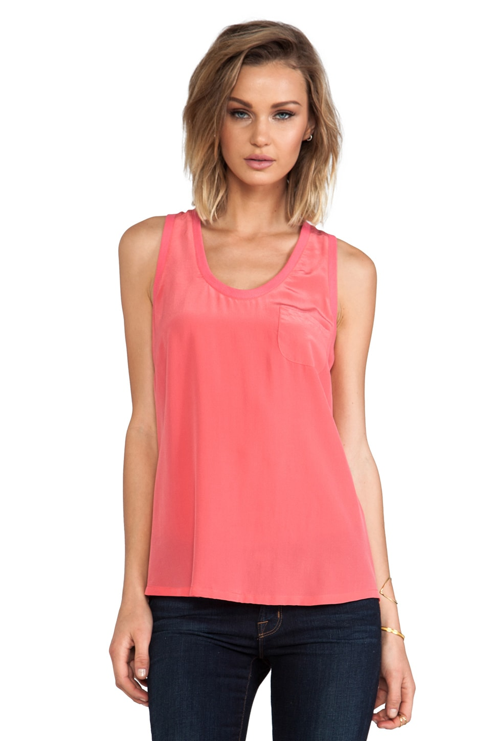 Joie Alicia Silk Tank in Coral