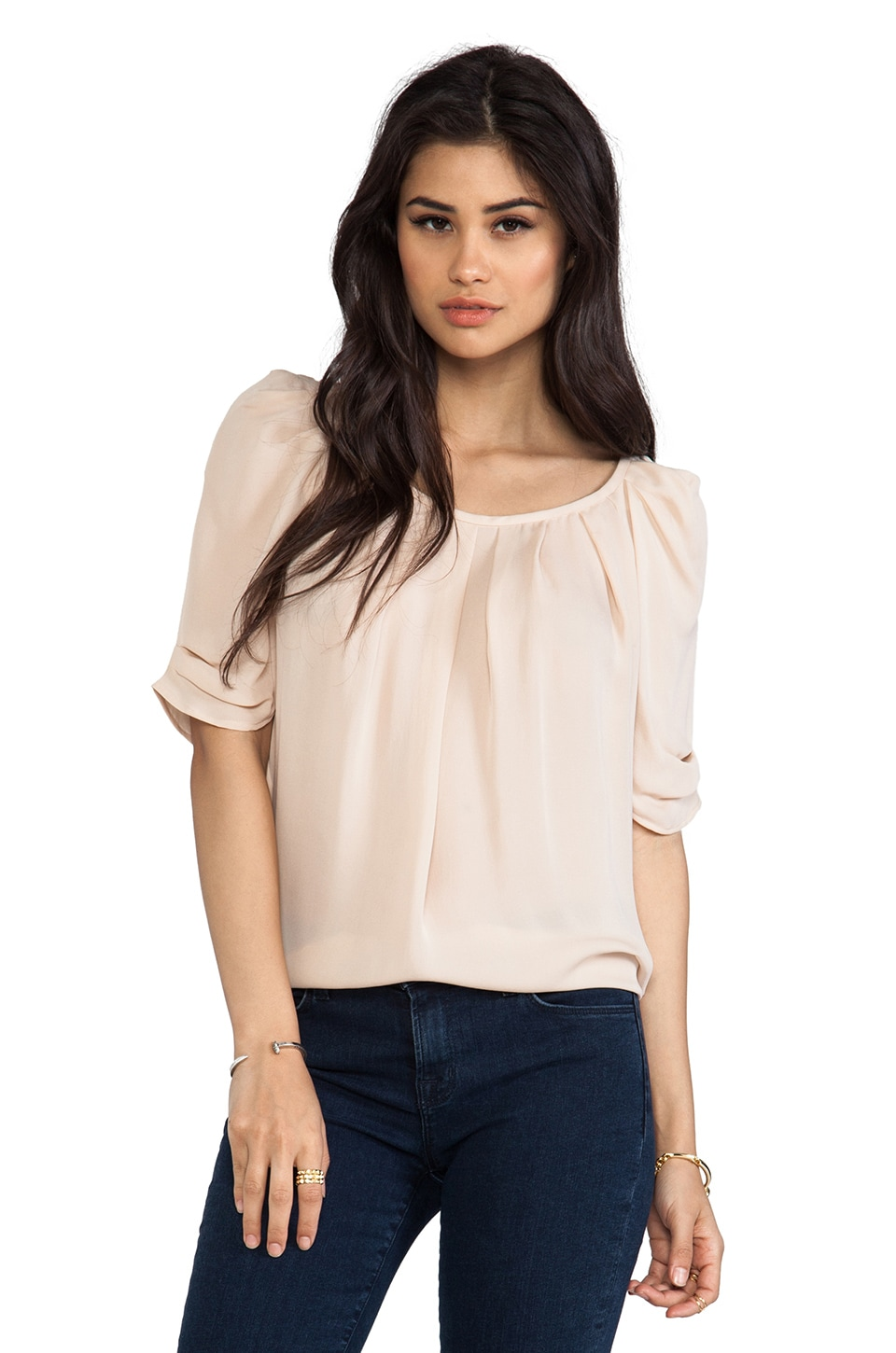 Joie Eleanor Matte Silk Top in Dusty Pink