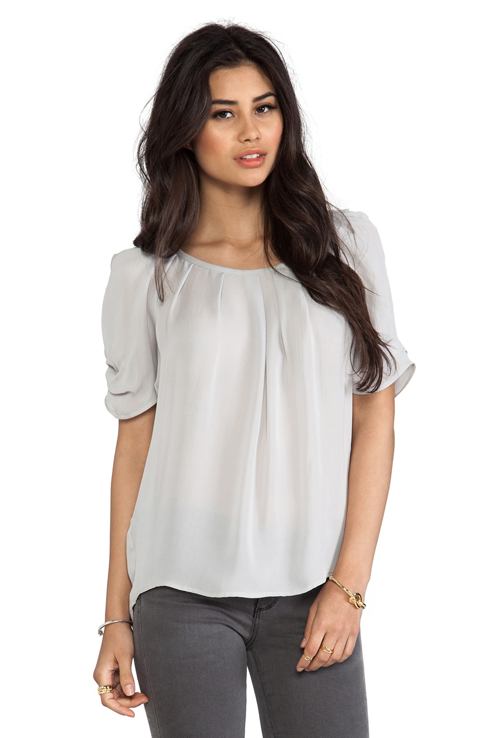 Joie Eleanor Matte Silk Top in Light Smoke