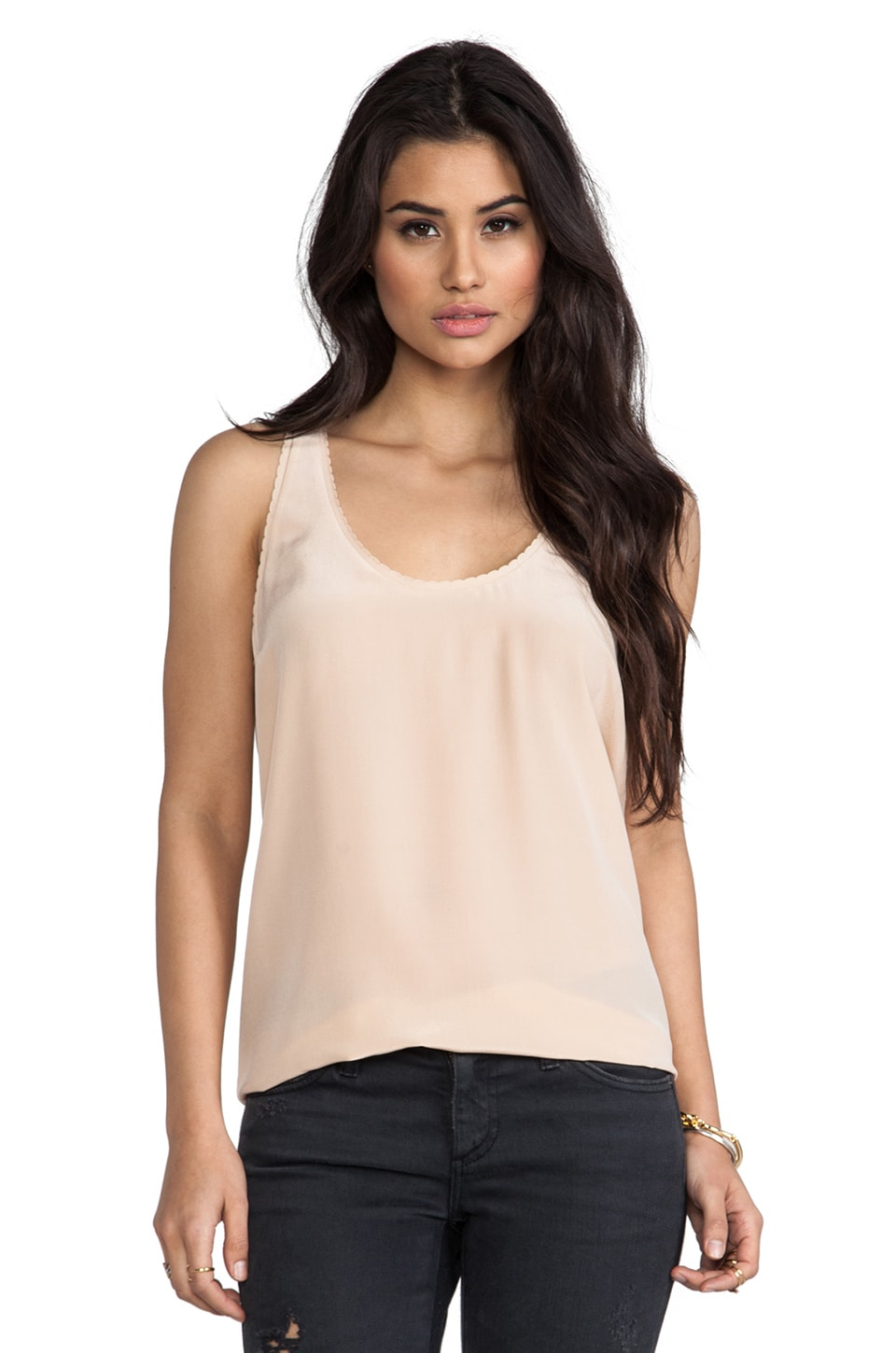 Joie Rain F Scalloped Edge Blouse in Dusty Pink Sand