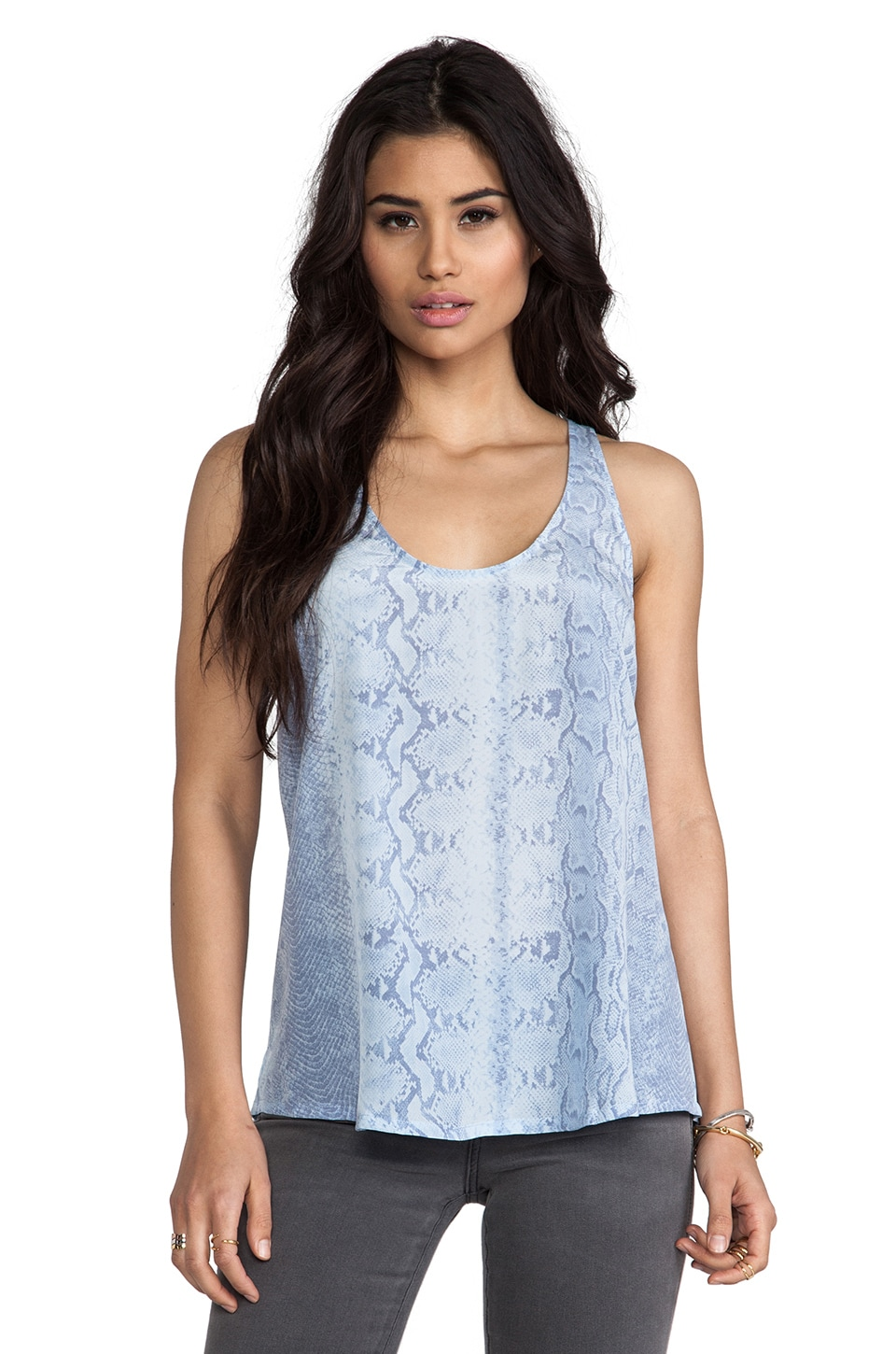 Joie Drew C Snake Printed Tank in Dusty Chambray
