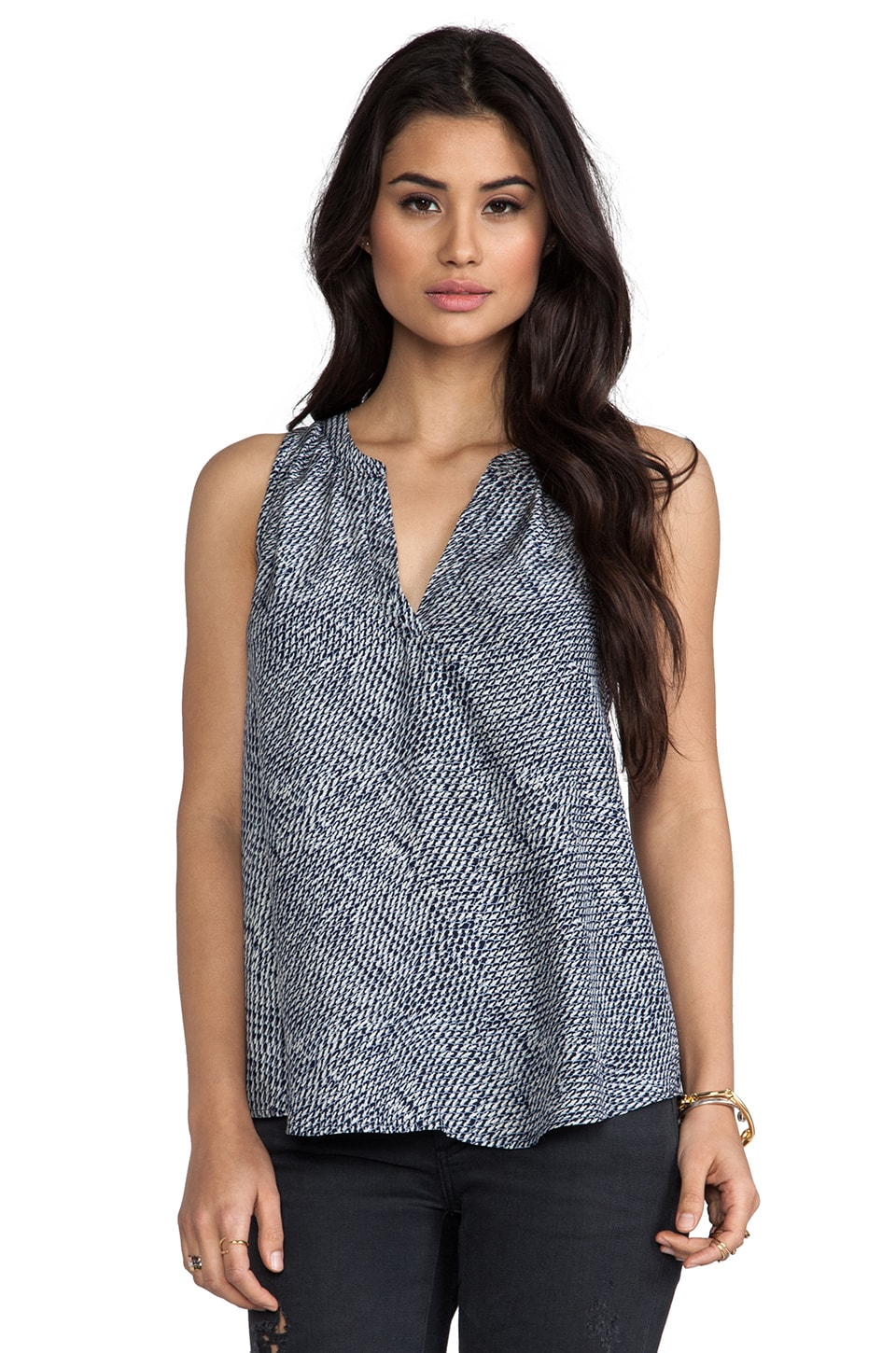 Joie Fifi Feather Printed Reverse Satin Tank in Dark Navy