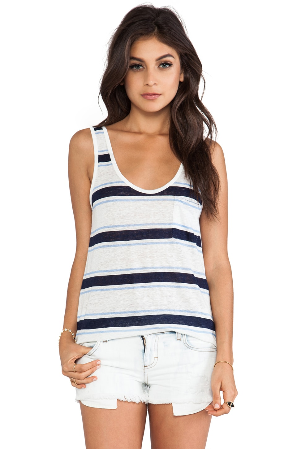 Joie Carmenelia Multicolor Striped Tank in Dark Navy