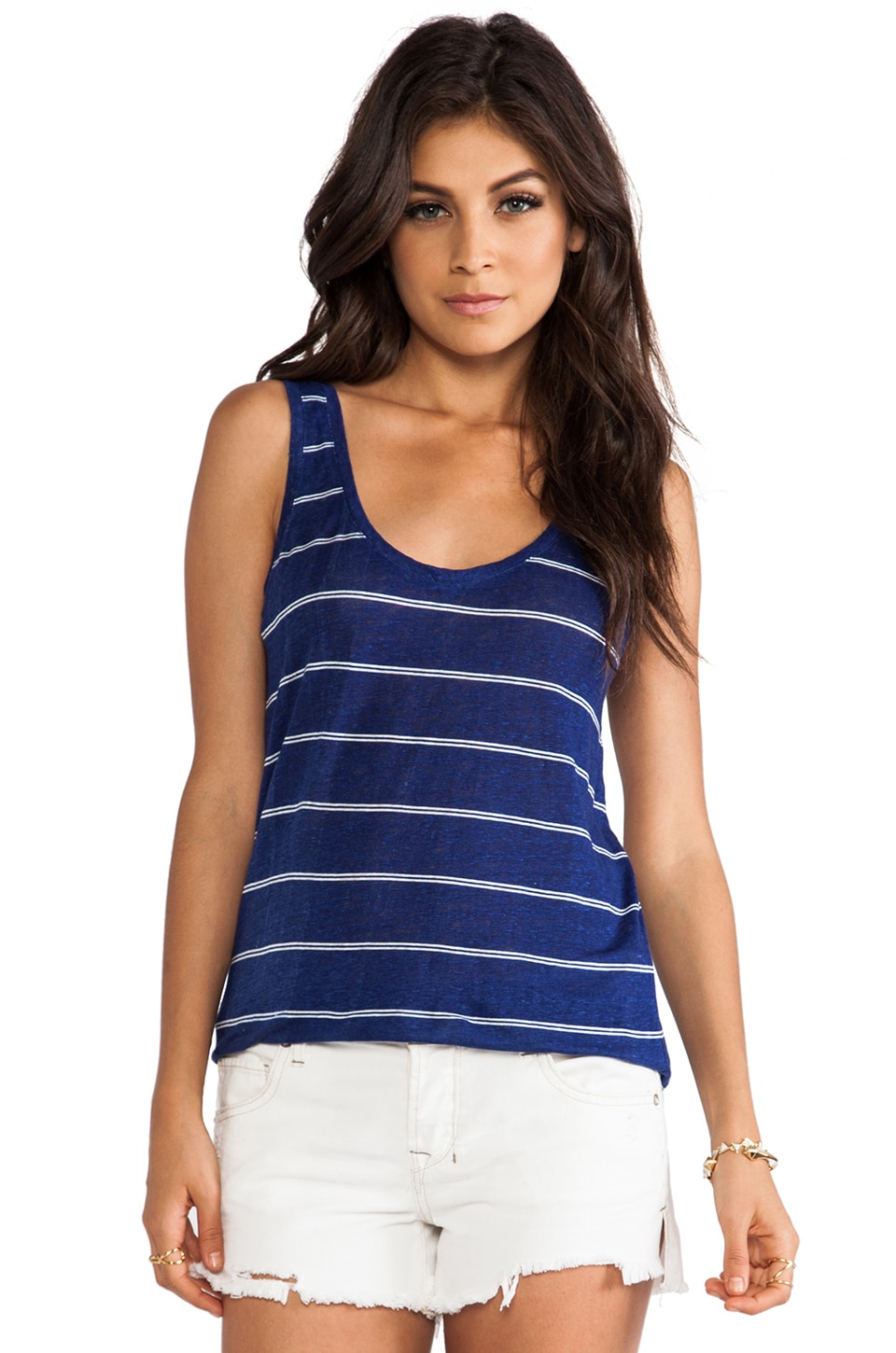 Joie Peyeche Mini Stripe Printed Tank in Deep Lapis