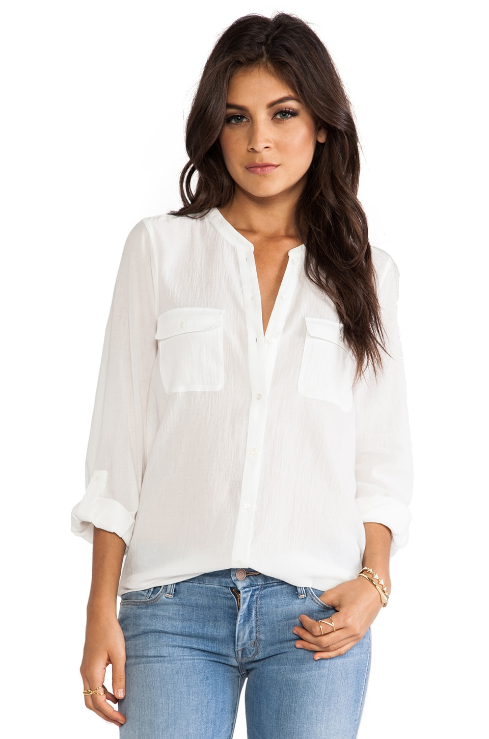 Joie Ginette Button Down Blouse in Porcelain