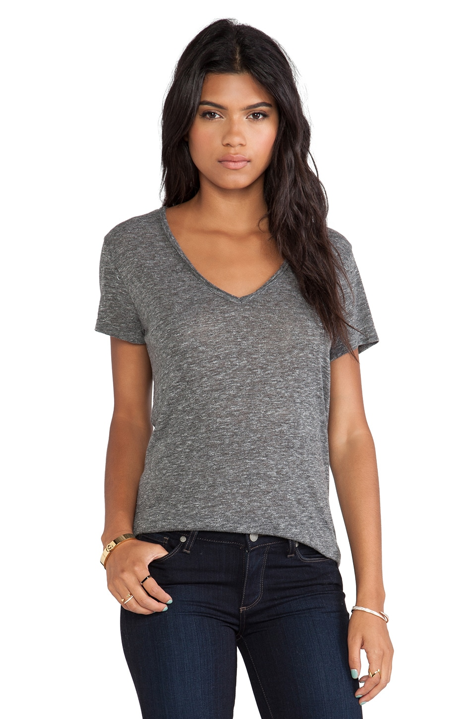 Joie Naeva V Neck Tee in Heather Dark Charcoal