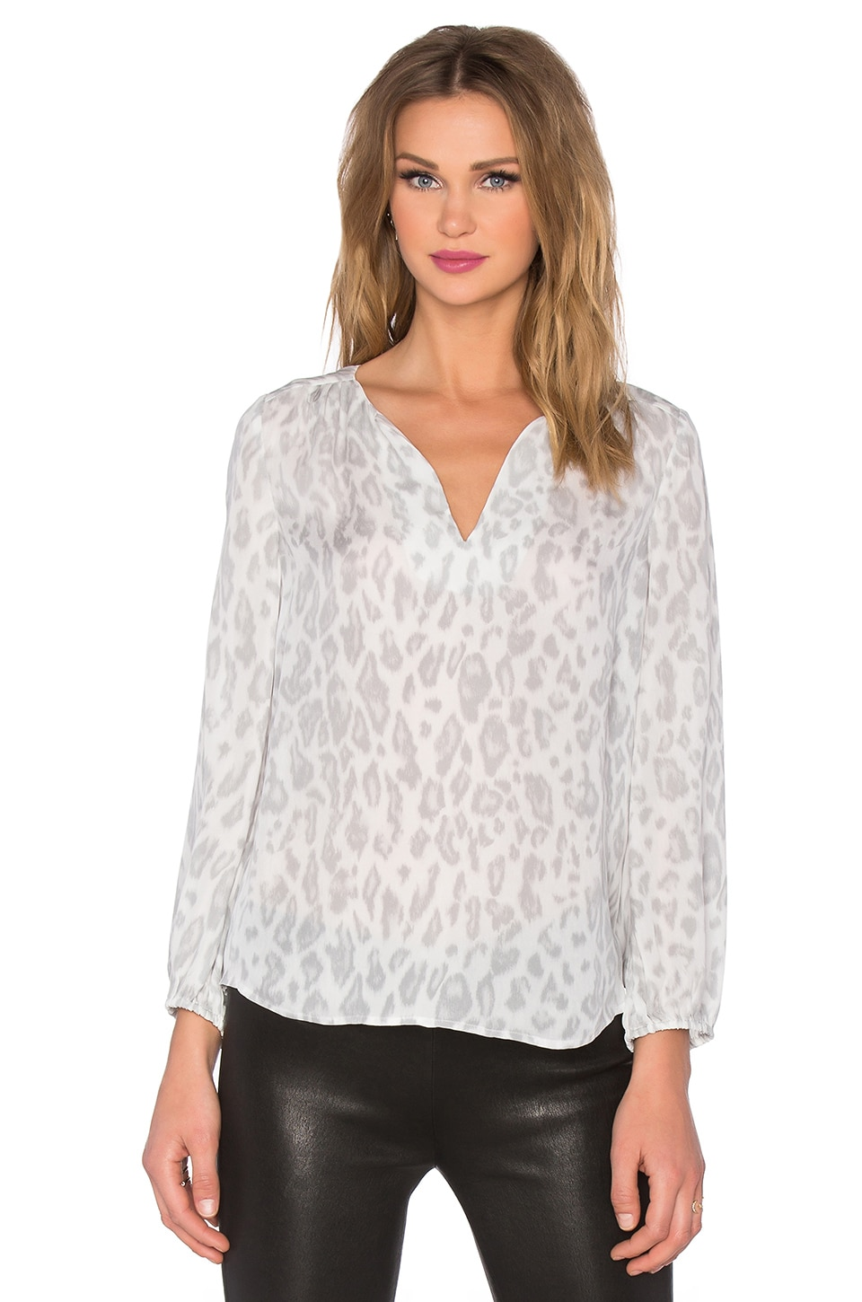 Joie Odelette B Cheetah Printed Blouse in Porcelain