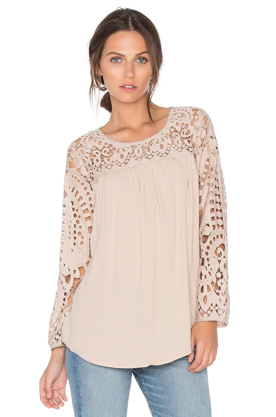 Joie Lindy Lace Blouse in Almond