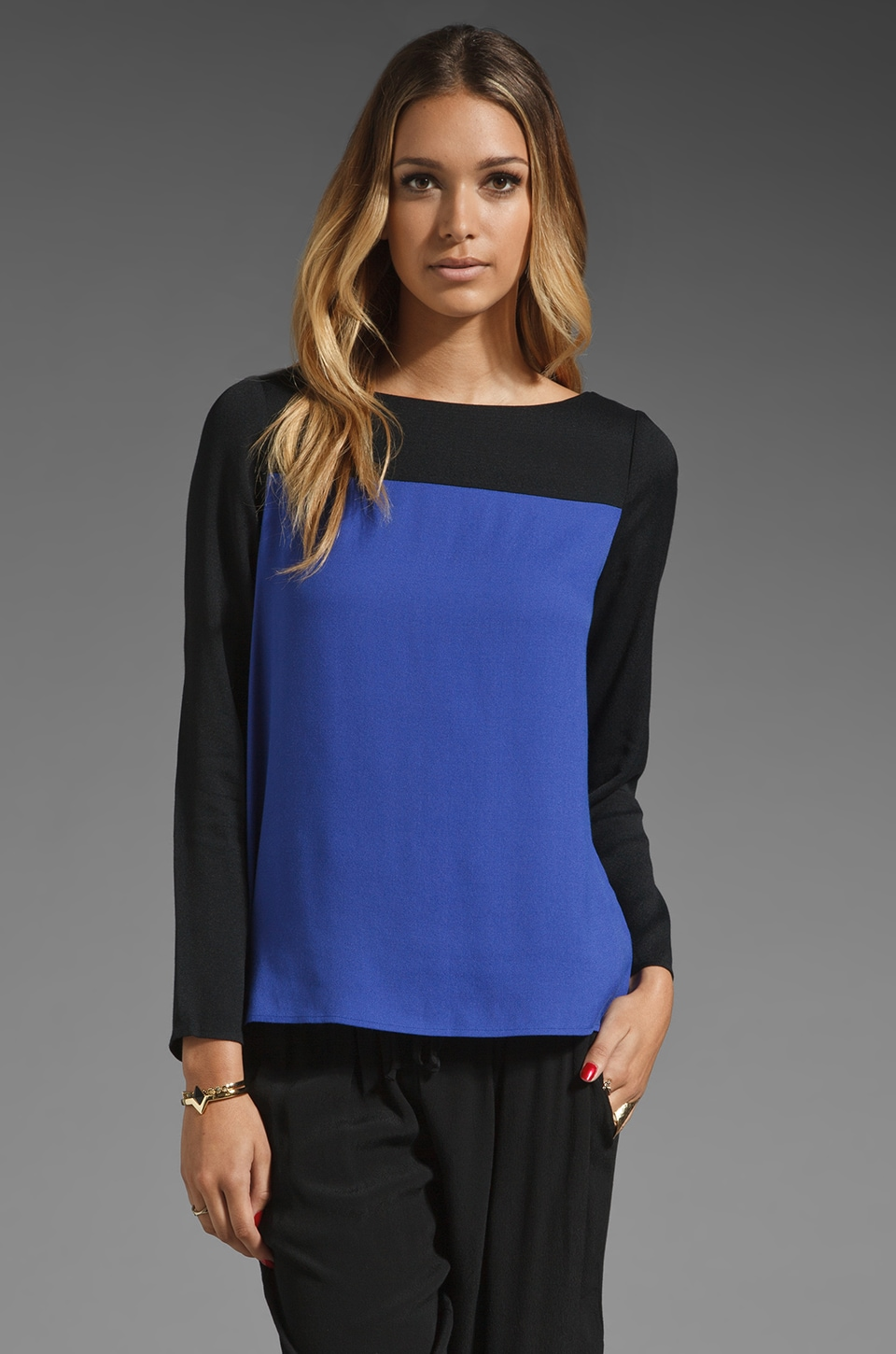 Joie Aliso Color Block Top in Nile Blue/Caviar