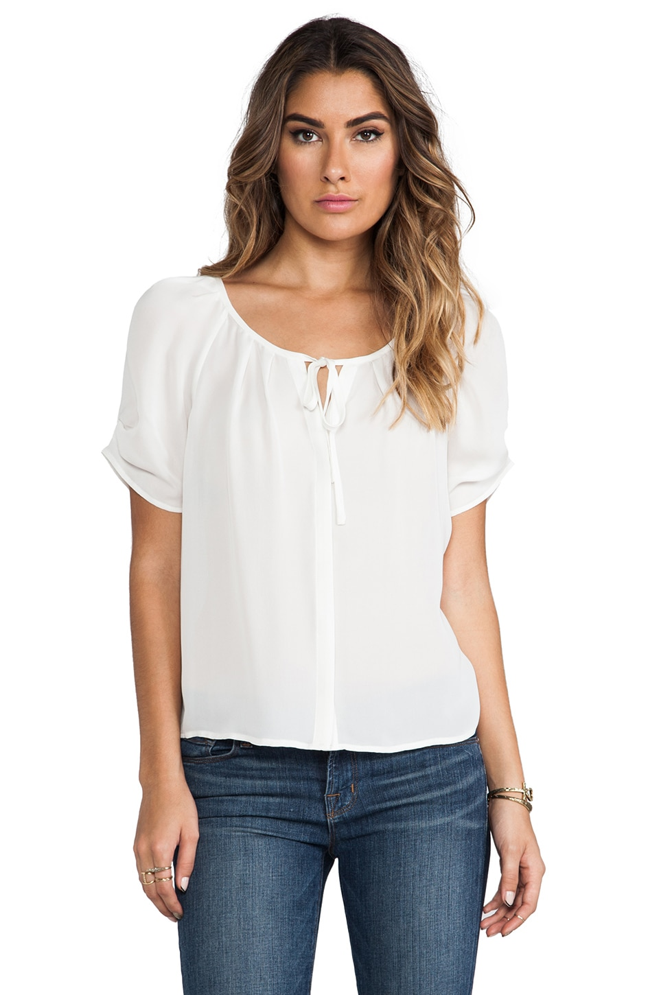 Joie Berkeley Matte Silk Blouse in Porcelain