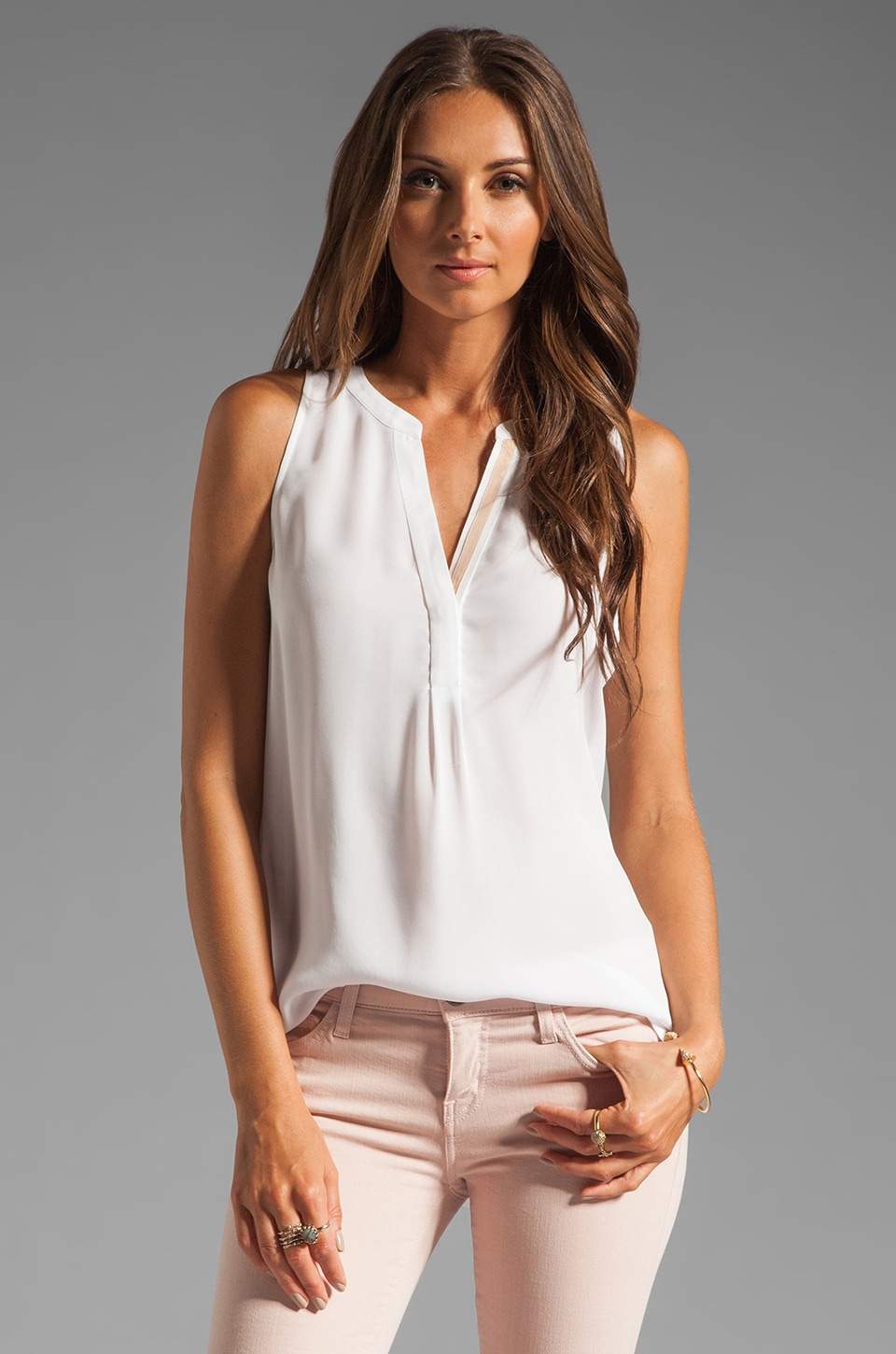 Joie Aruna Contrast Trim Tank in Porcelain/Dusty Pink