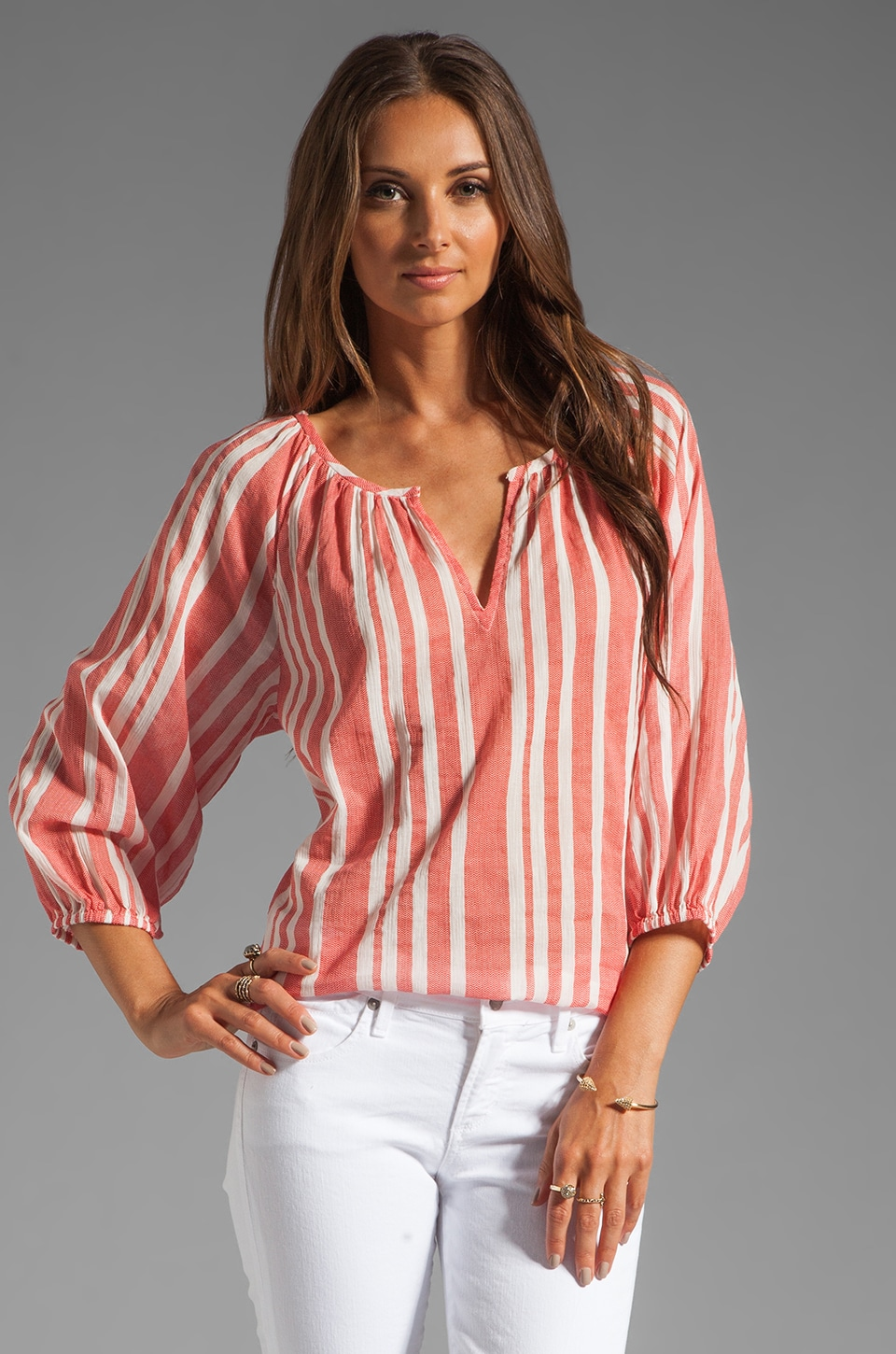 Joie Meridian Chevron Blouse in Cherry
