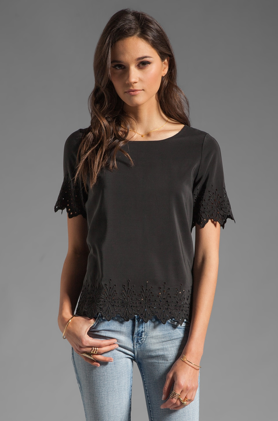 Joie Florine Eyelet Embroidery Top in Caviar