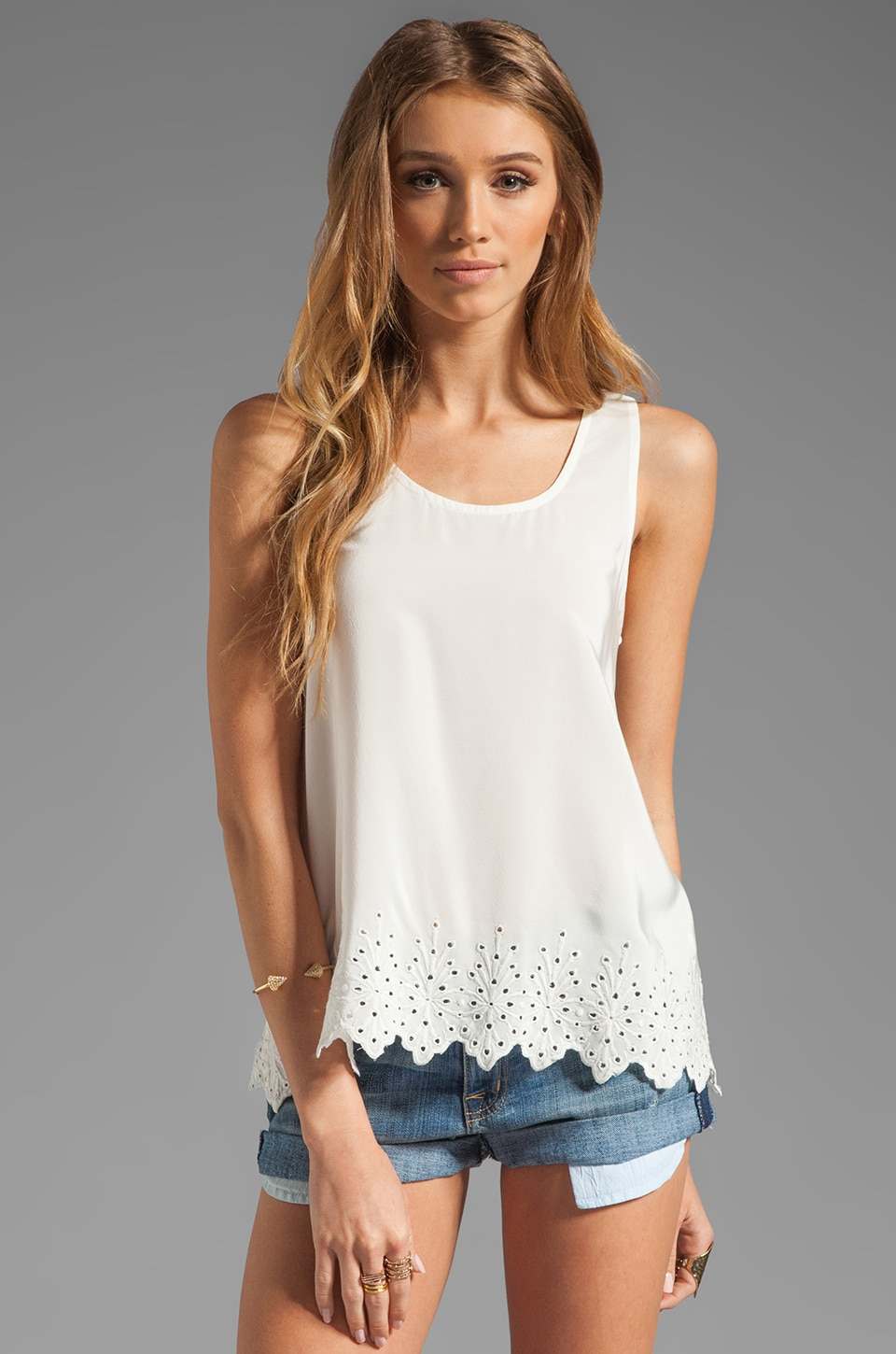 Joie Varina B Eyelet Embroidery Tank in Porcelain