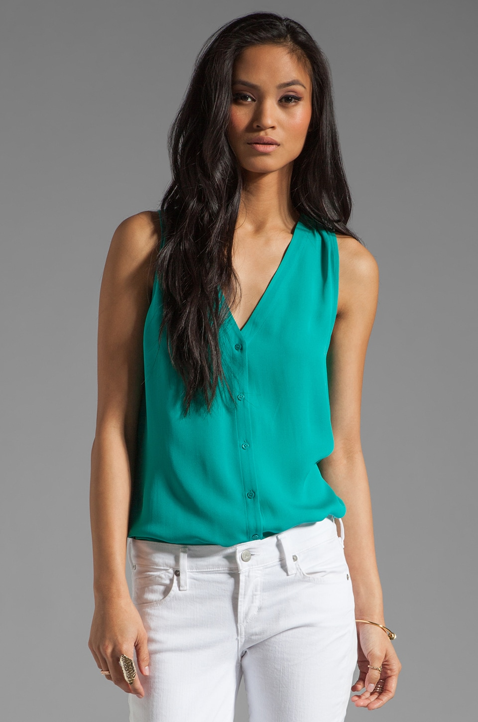 Joie Carissa Silk Tank in Juniper