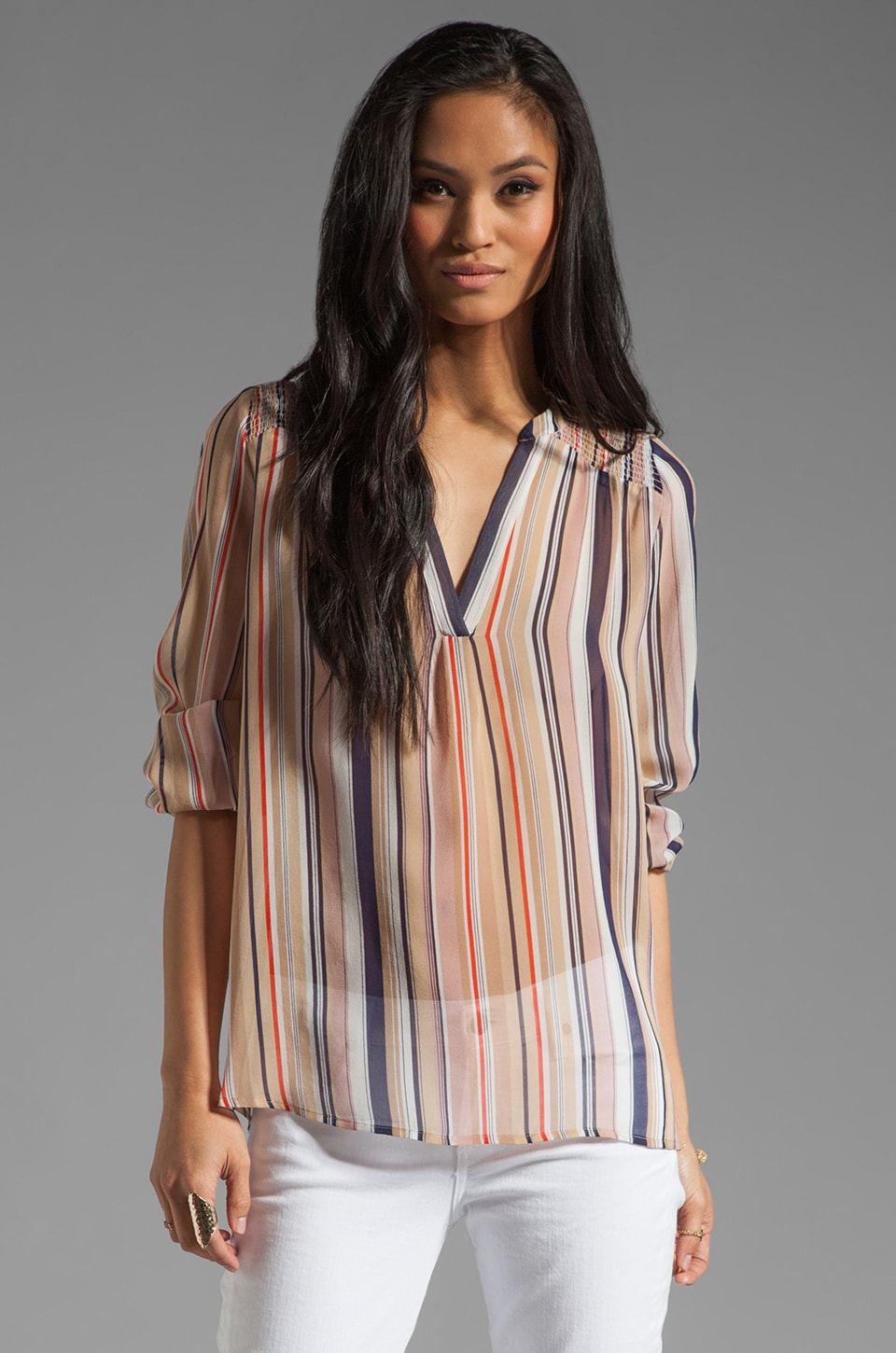 Joie Carlene Stripe Print Top in Dusty/Pink Sand