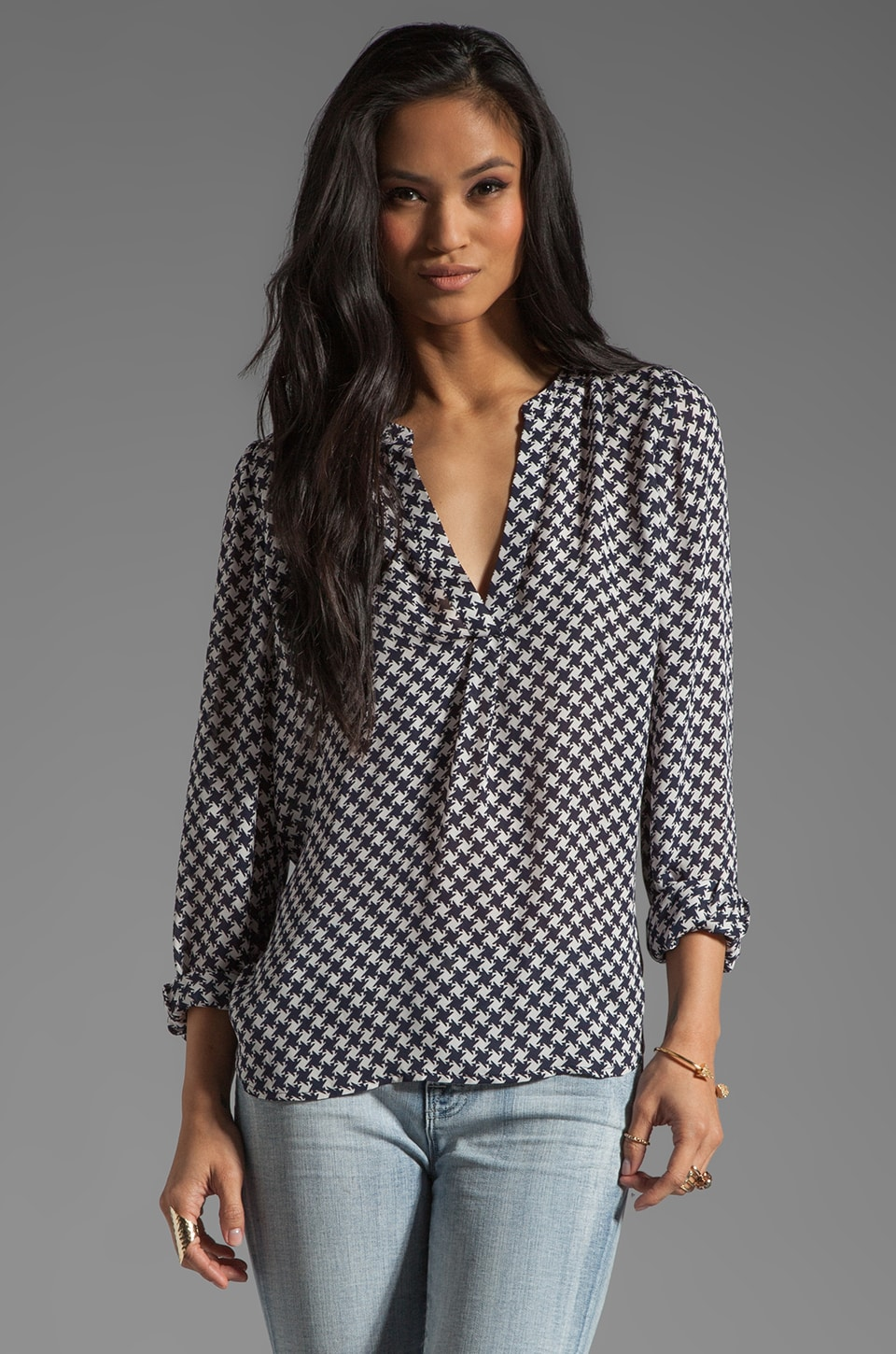 Joie Peterson B Houndstooth Blouse in Dark Navy