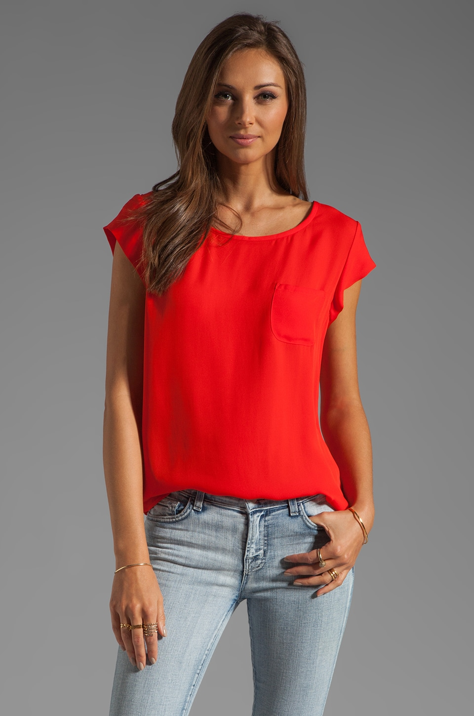 Joie Rancher Silk Top in Fiery Red