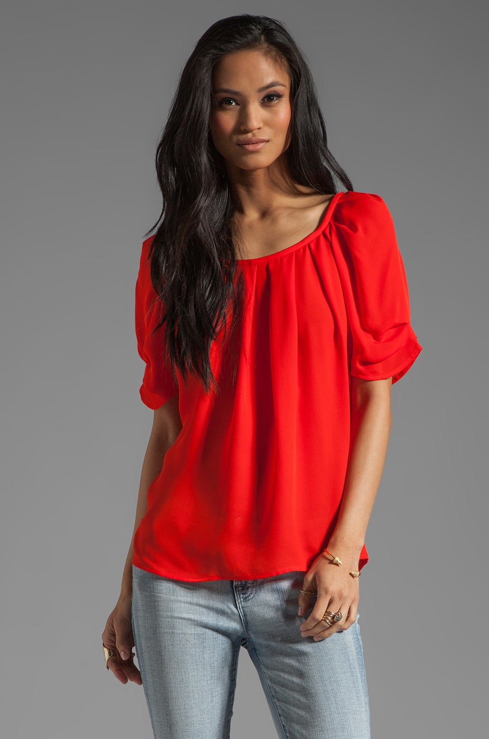 Joie Eleanor Silk Top in Fiery Red