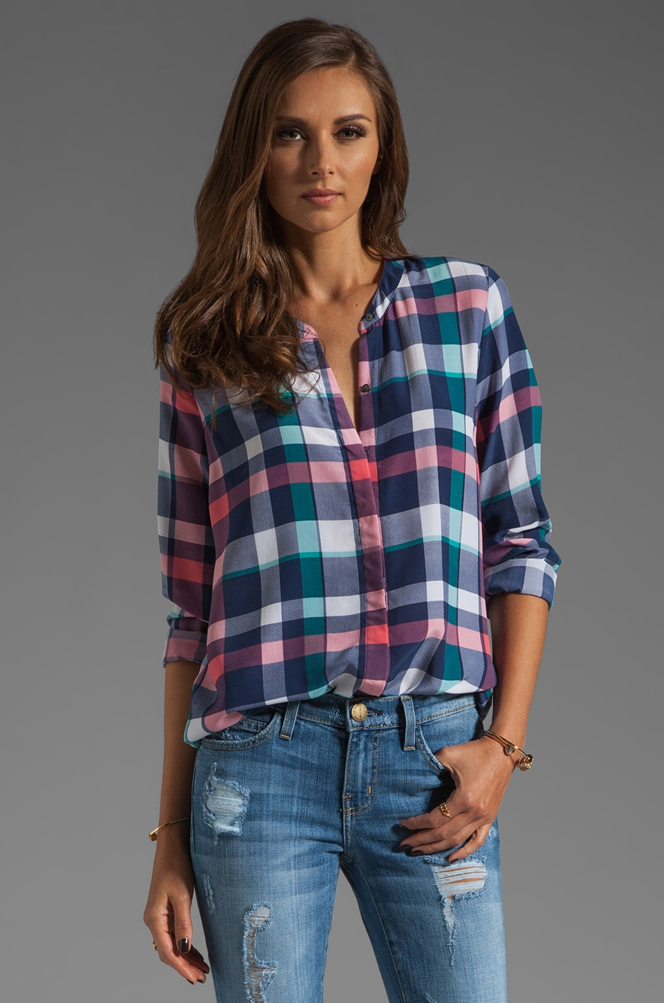 Joie Ceres Plaid Blouse in Twilight