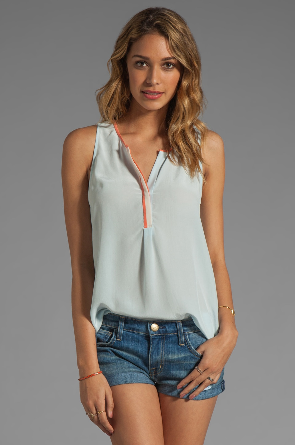 Joie Surkin Color Block Detail Tank in Cloud Blue/Hot Coral