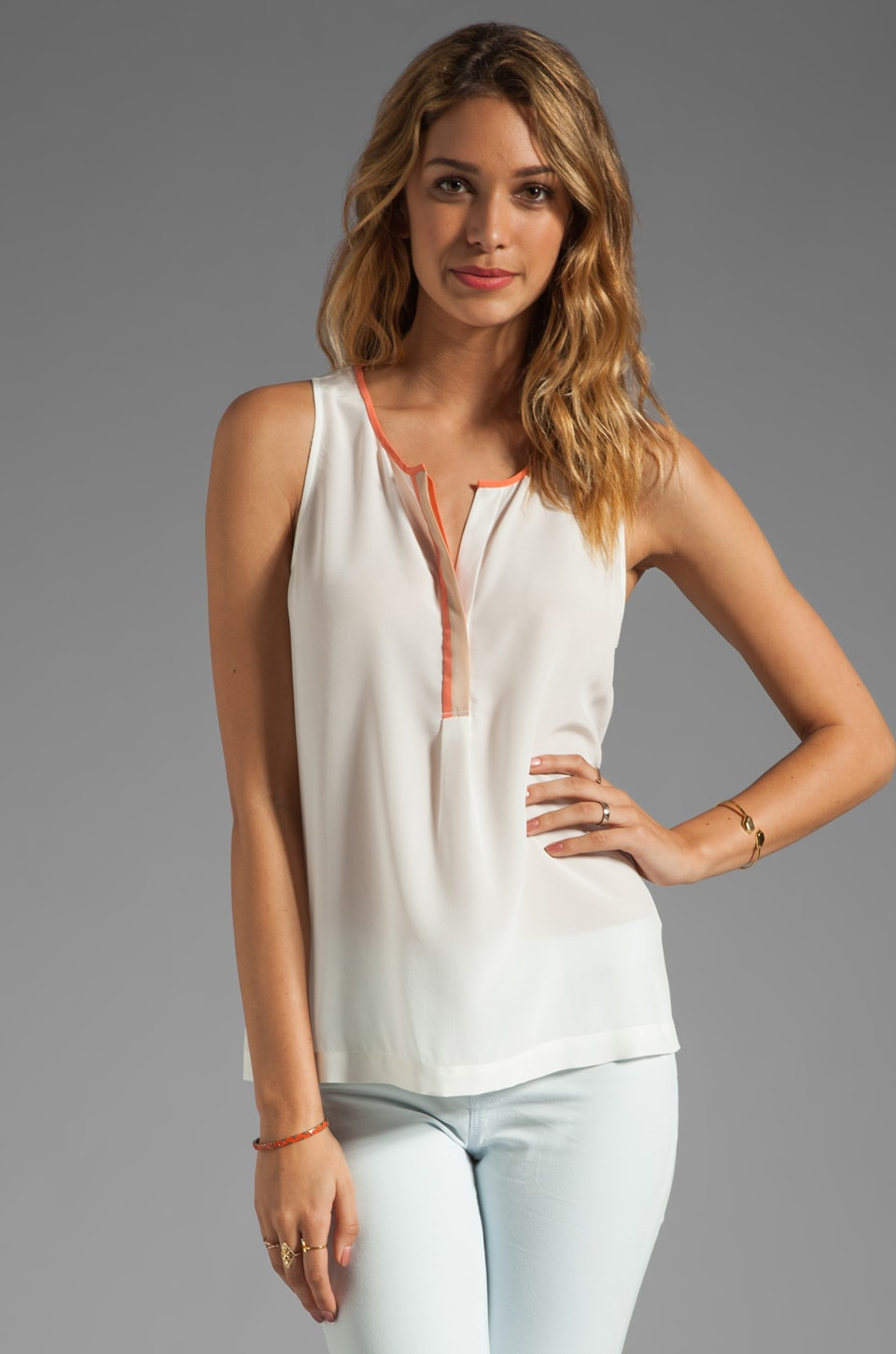 Joie Surkin Color Block Detail Tank in Porcelain/Hot Coral