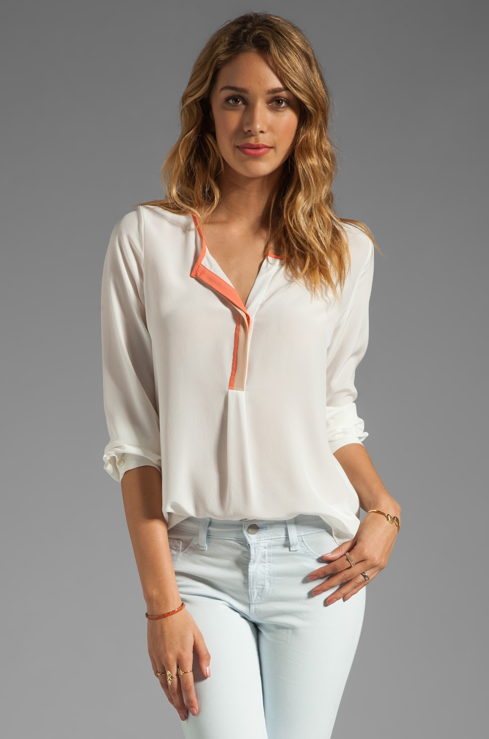 Joie Vixon Color Block Detail Blouse in Porcelain/Hot Coral