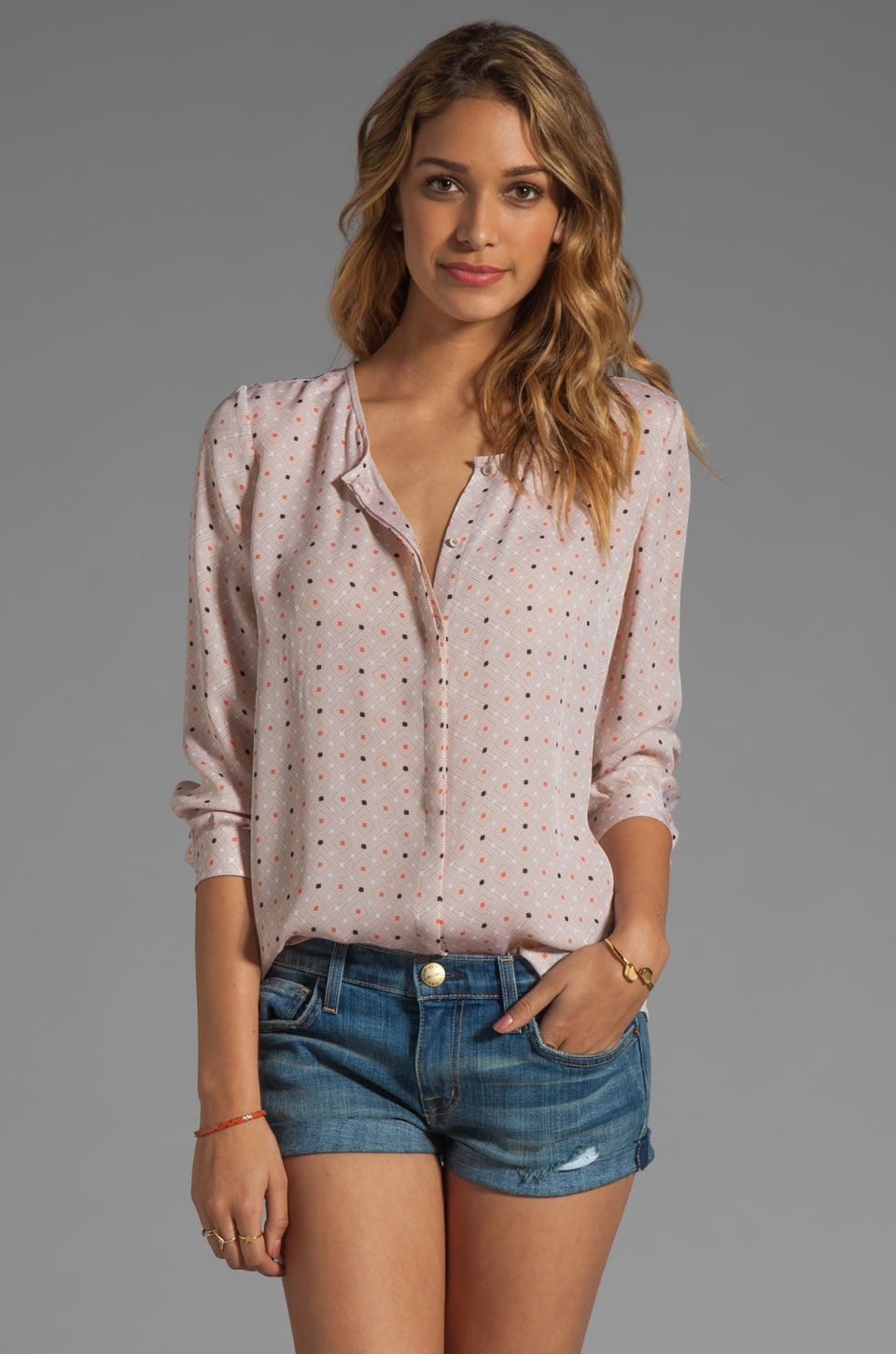 Joie Wilmington Polka Dot Blouse in Dusty Pink Sand