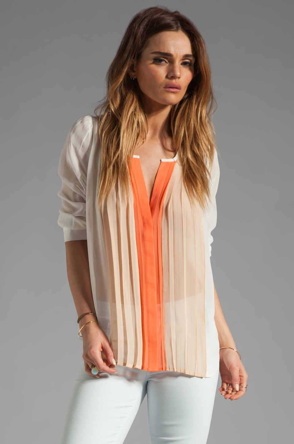 Joie Sinden Ombre Blouse in Hot Coral/Dusty Pink Sand/Porcelain