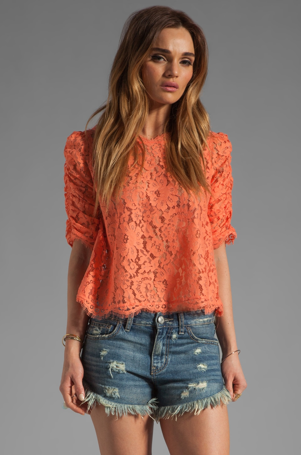 Joie Fanny Lace Top in Hot Coral