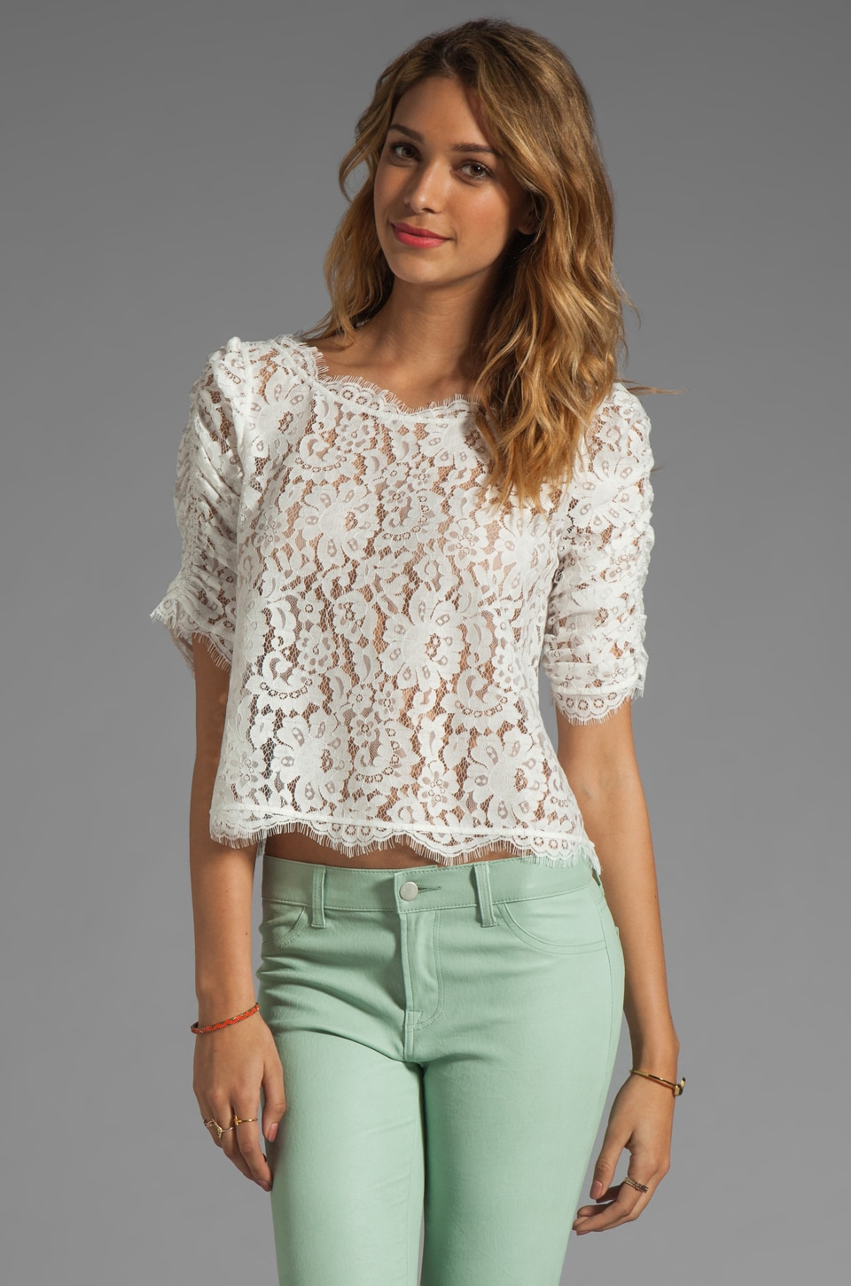 Joie Fanny Lace Top in Porcelain
