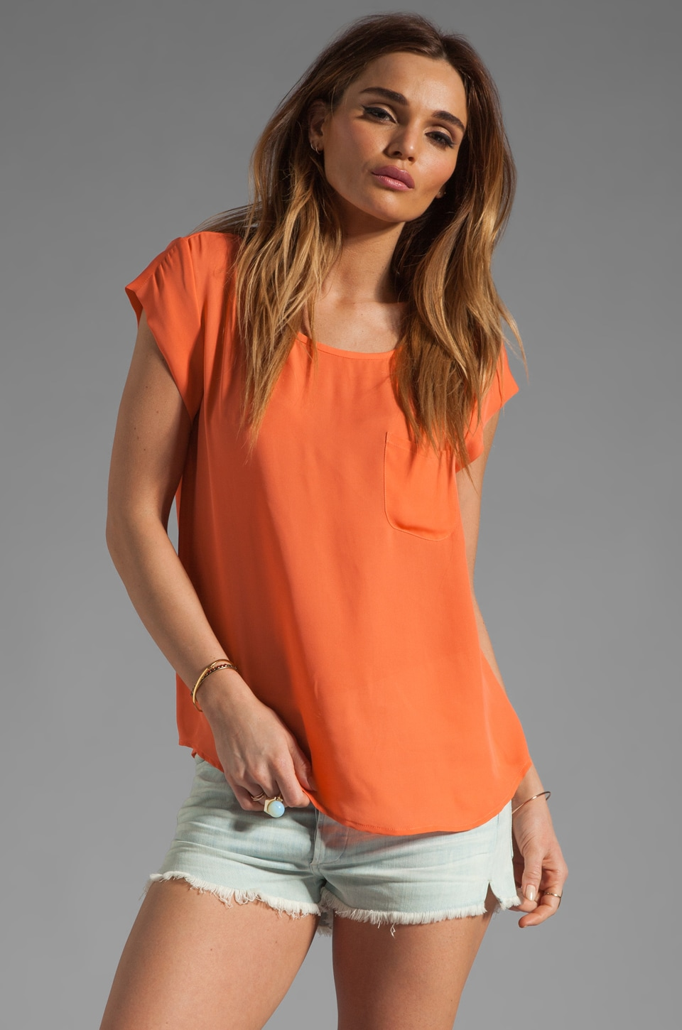 Joie Rancher Silk Top in Hot Coral