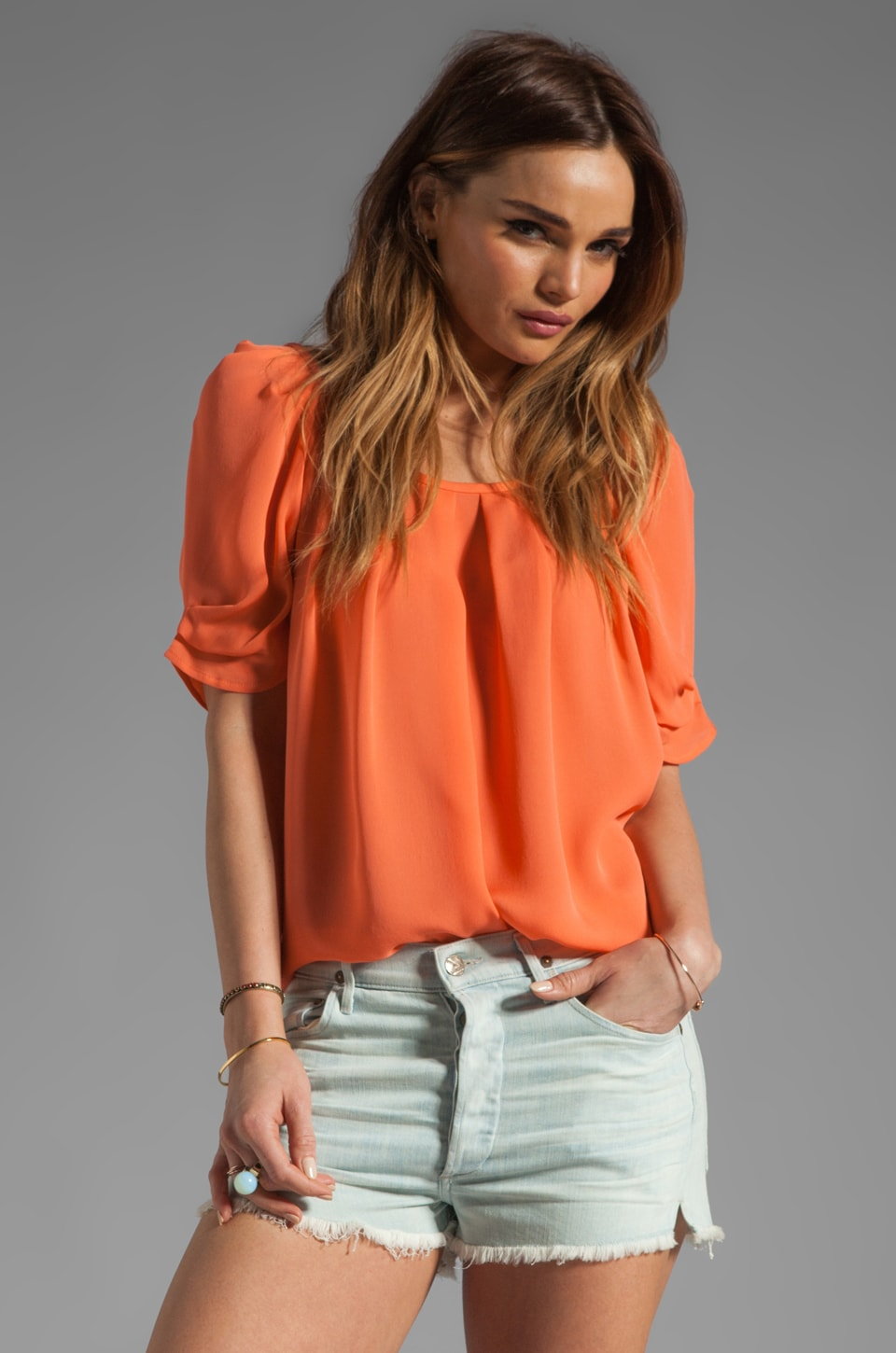 Joie Eleanor Silk Top in Hot Coral