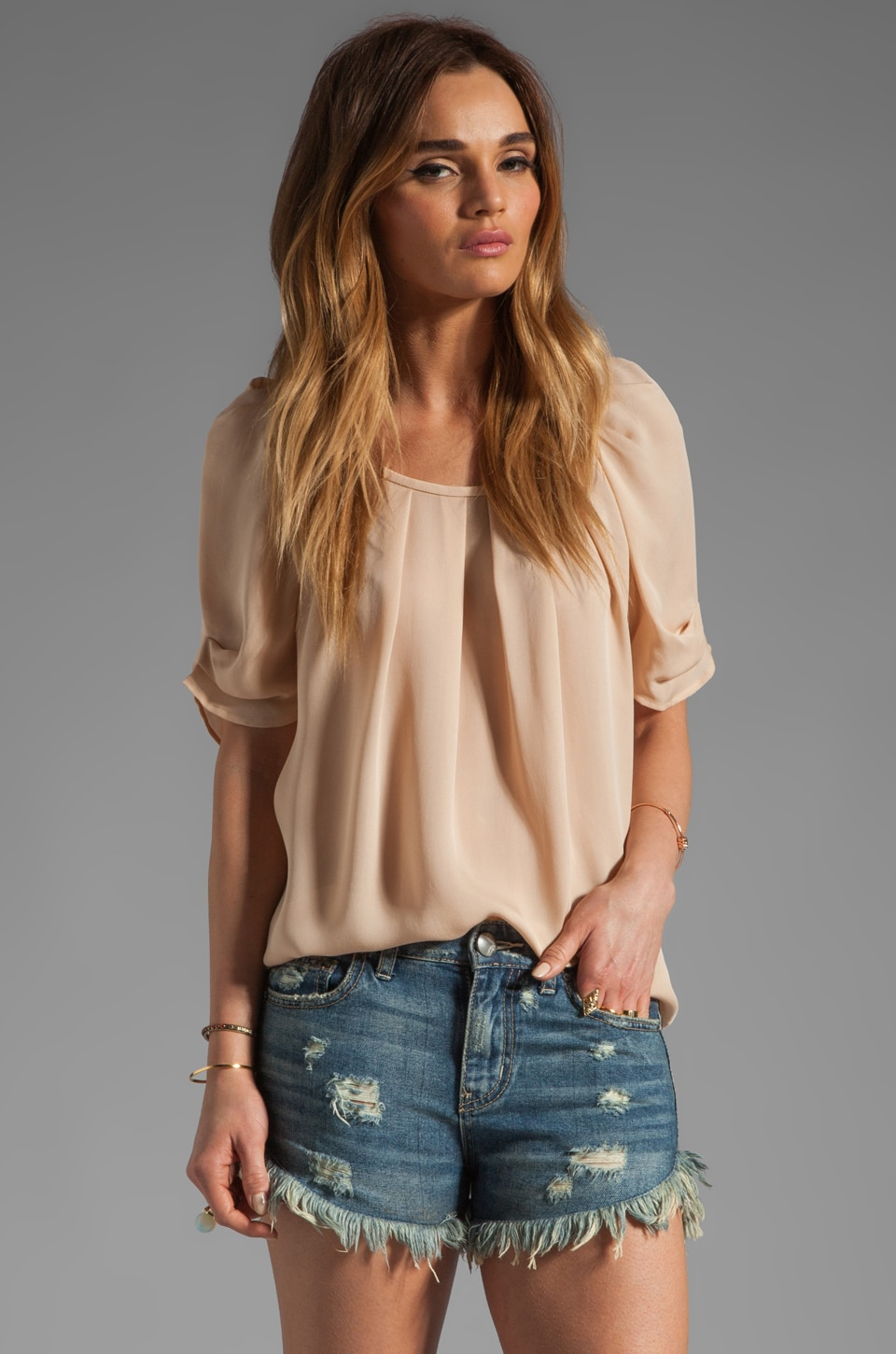Joie Eleanor Silk Top in Dusty Pink Sand