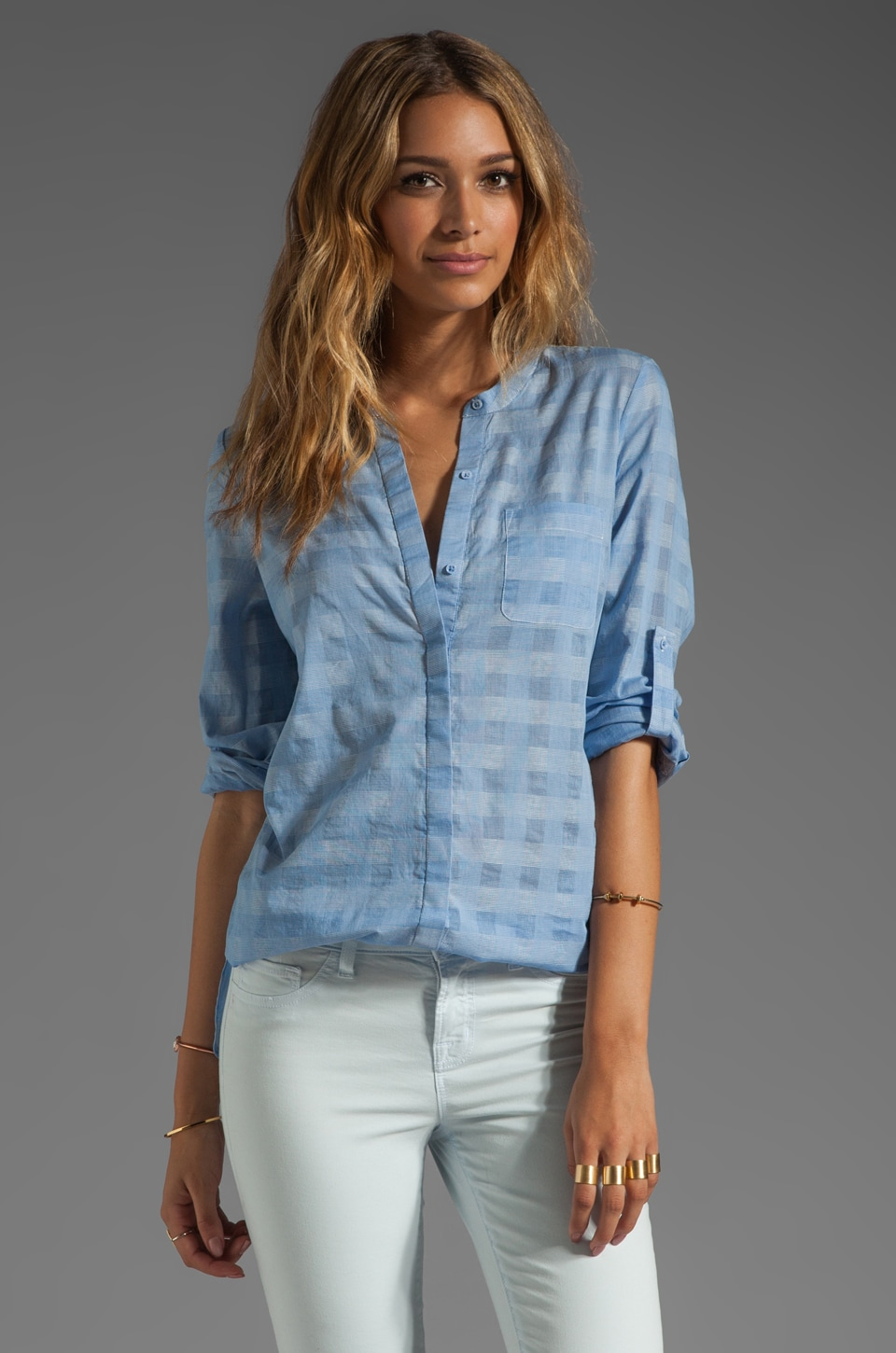 Joie Ceres B Plaid Top in Marlin