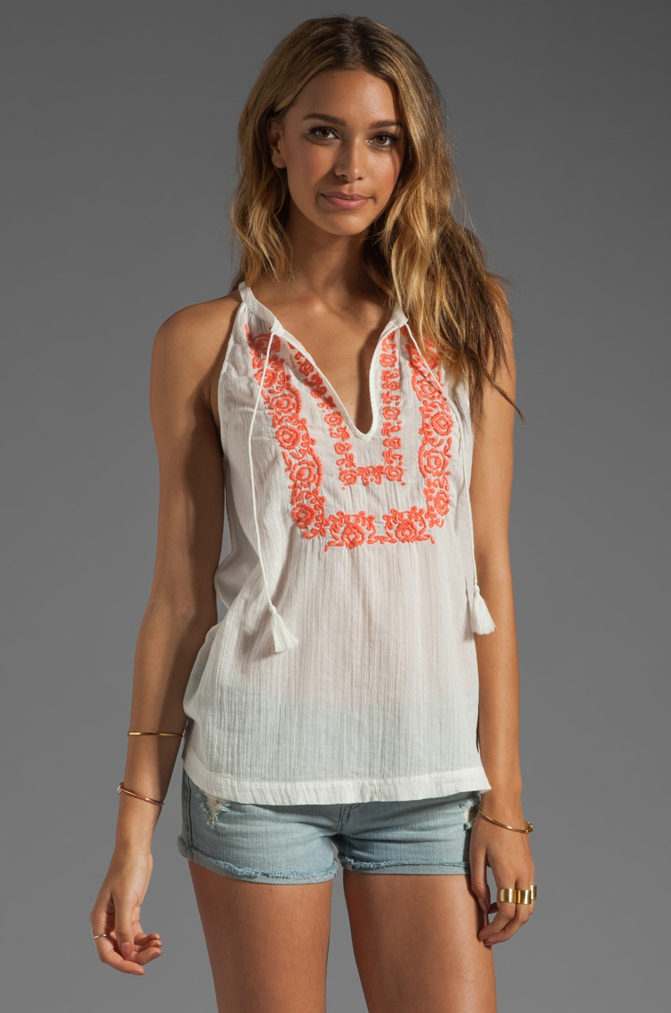 Joie Chutney Embroidery Tank in Porcelain/Hot Coral