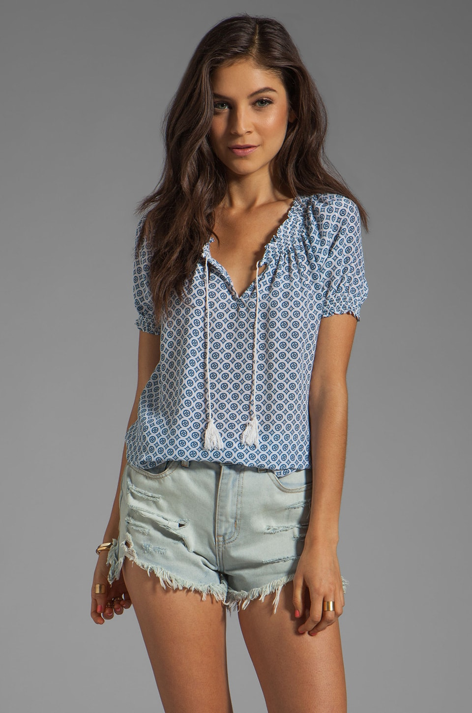 Joie Masha Medallion Print Top in Porcelain