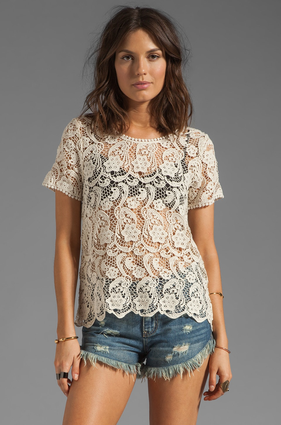 Joie Devine Crochet Lace Top in Off White