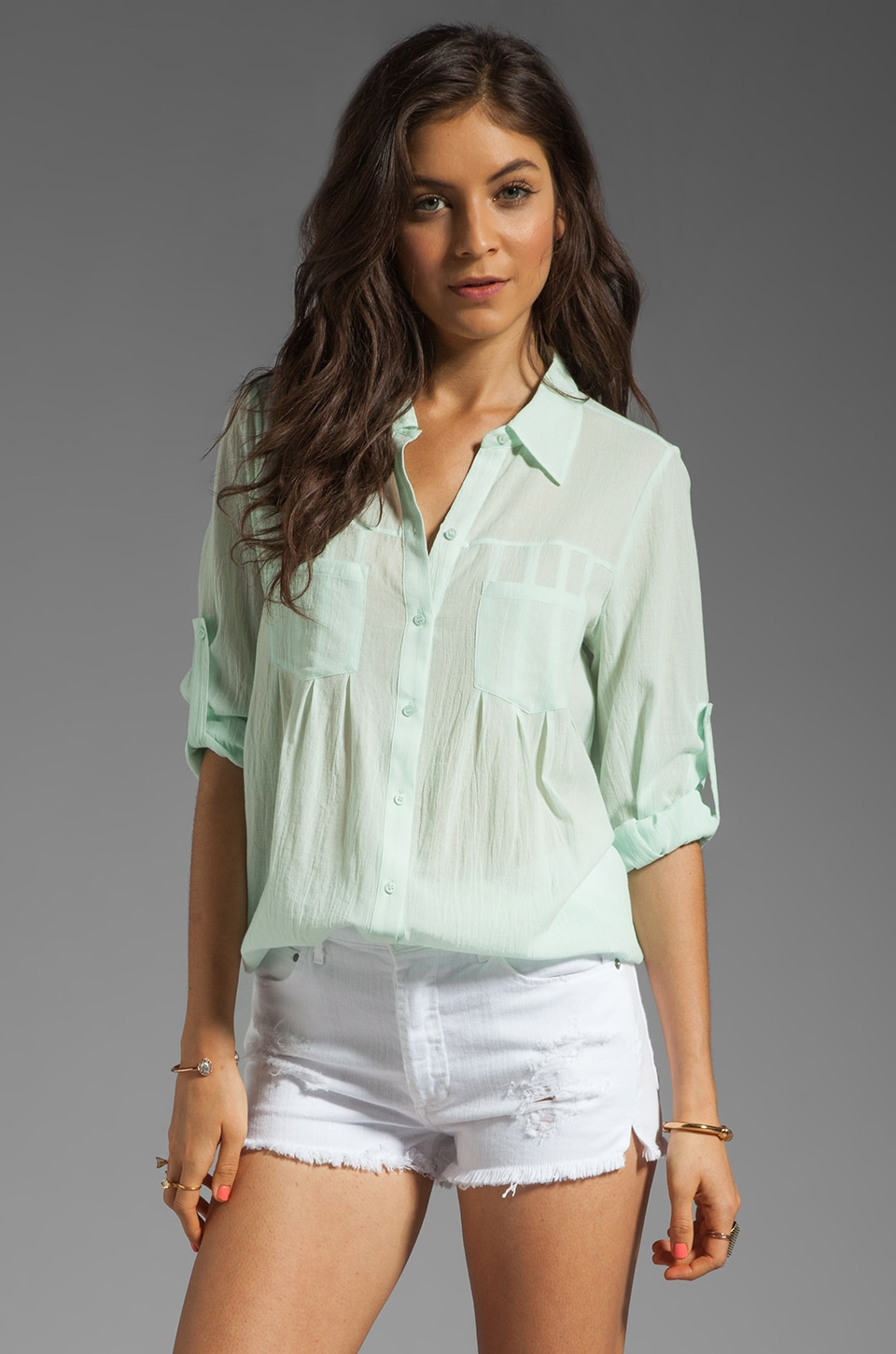 Joie Pinot Button Up in Pale Aqua