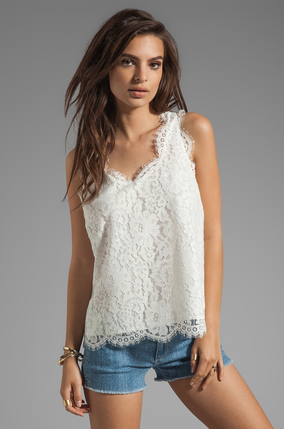Joie Cina Lace Tank in Porcelain