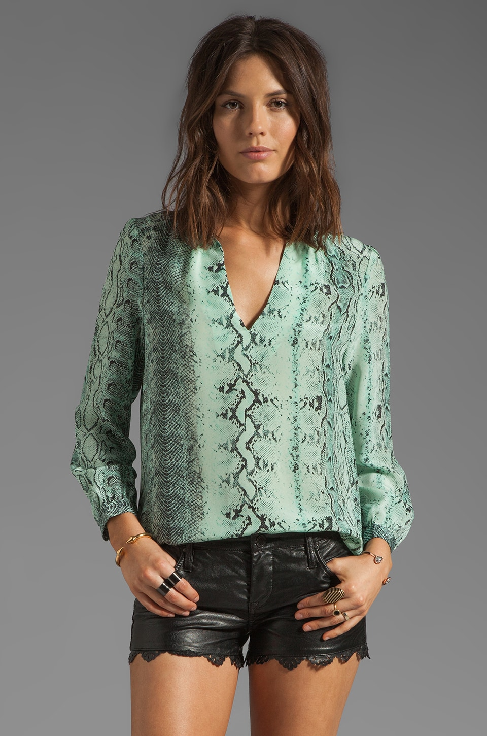 Joie Pearline Irregular Snake Silk Print Blouse in Pale Aqua